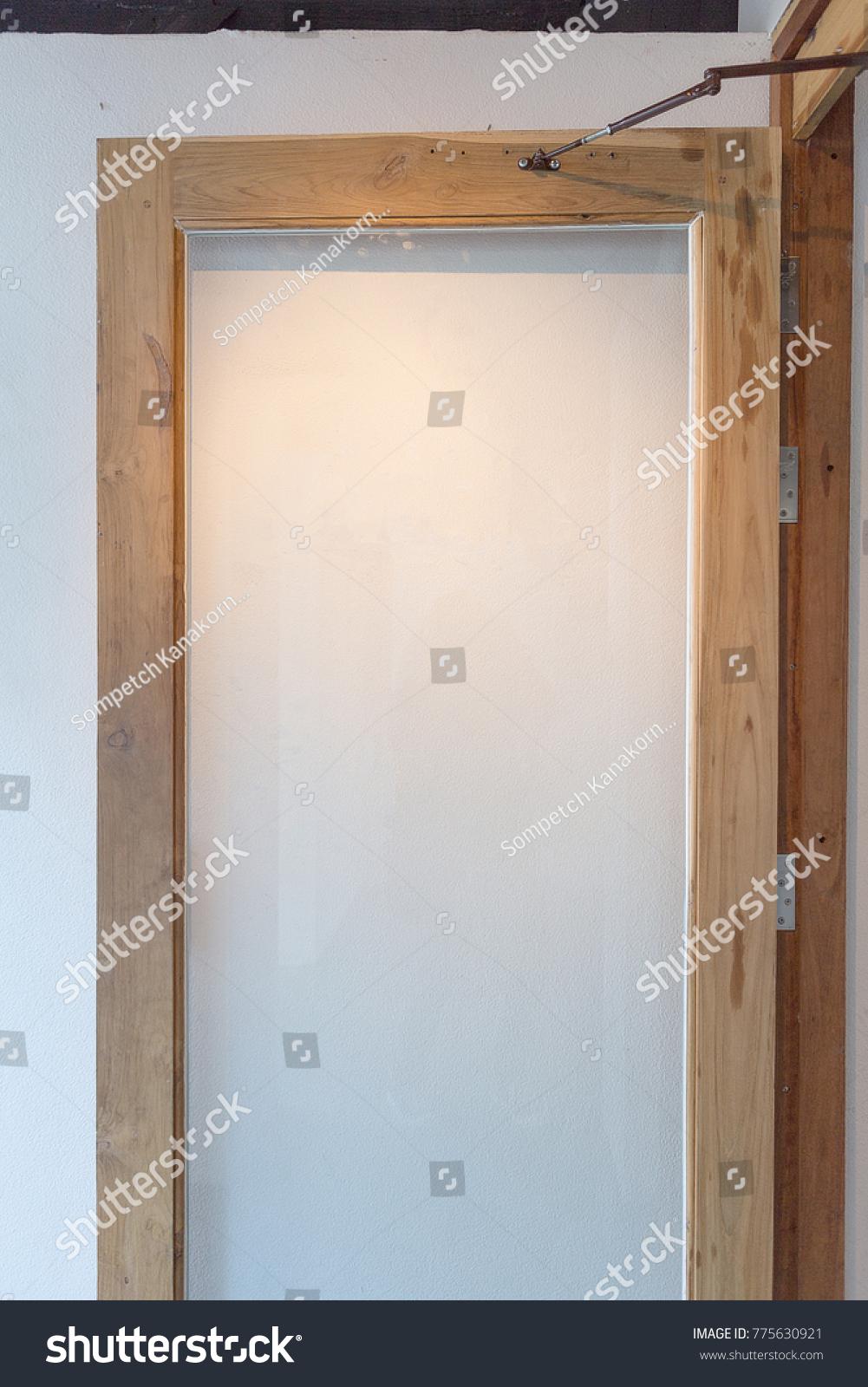 Door Wood Frame Clear Glass Panel Door Stock Photo (Royalty Free ...