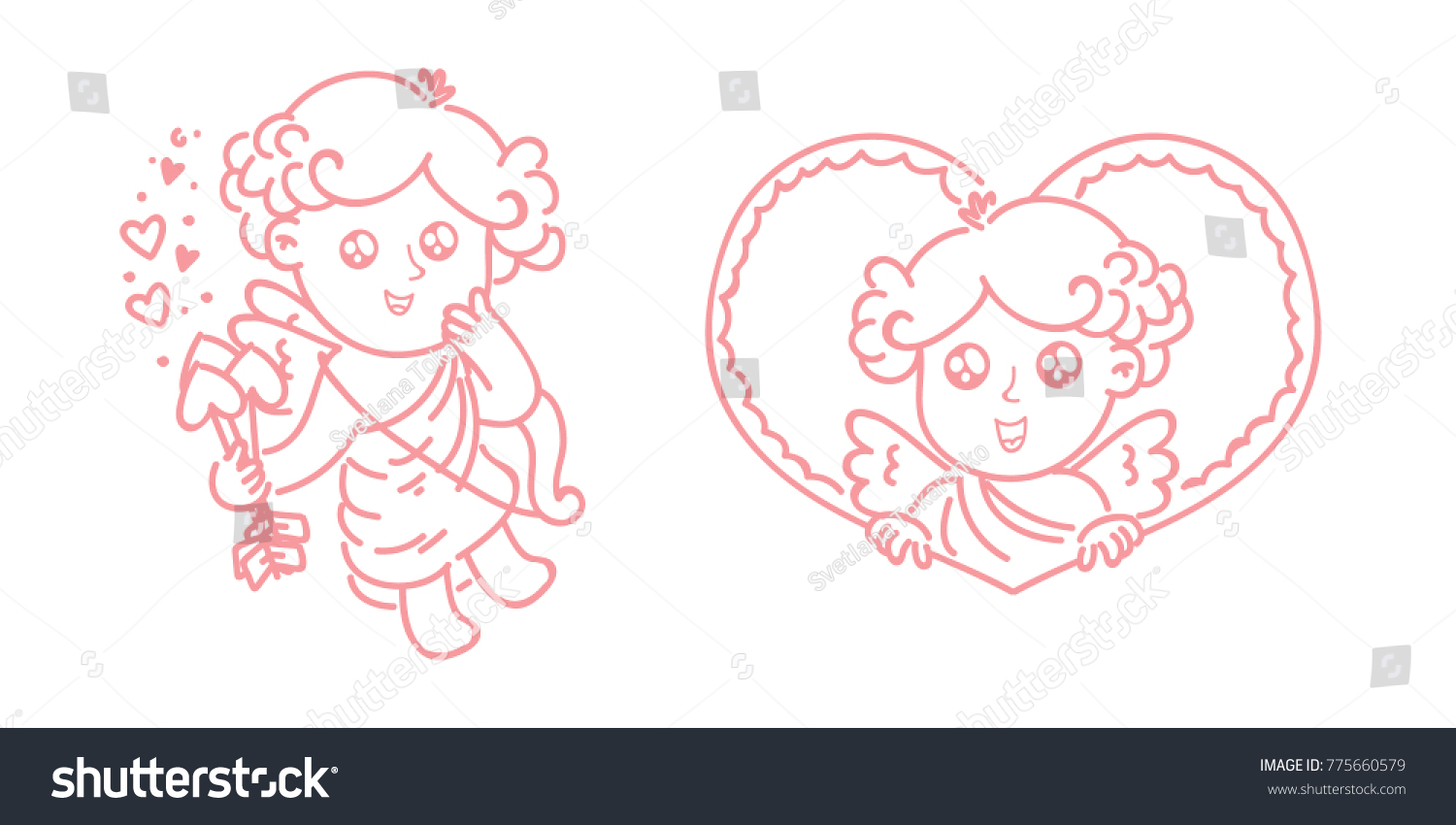 Line Art Heart Outline : Cute outline cupid amur baby character stock vector
