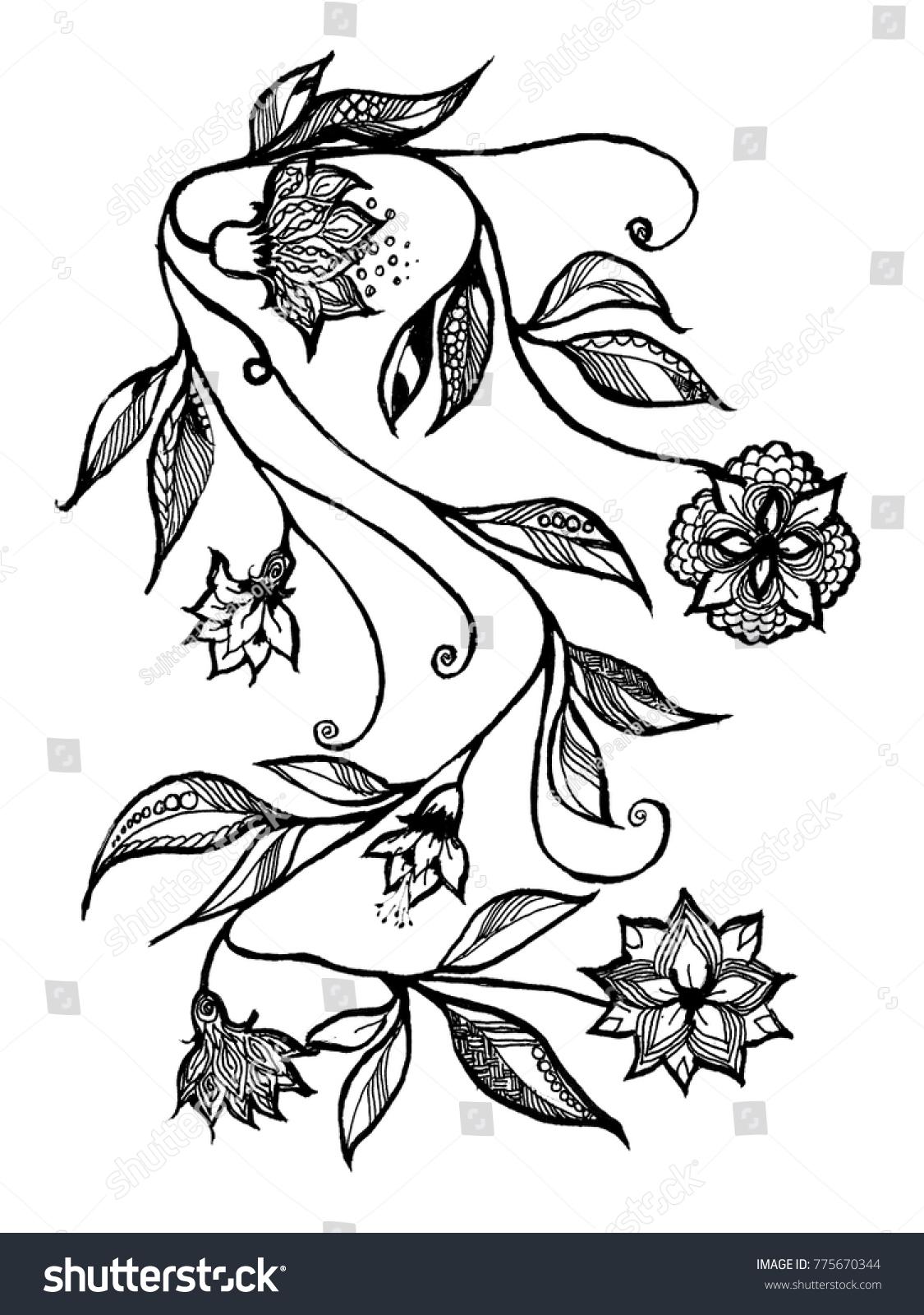 Beautiful Vines Flowers Black White Style Hand Stock Illustration