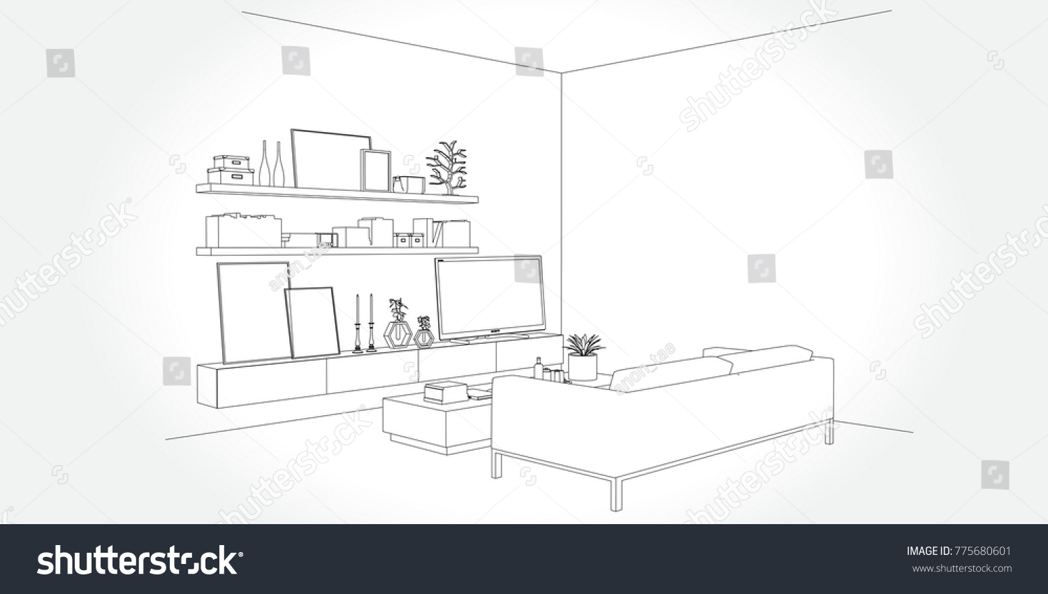 Linear Sketch Interior Living Room Plan Stock Vector 775680601 ...