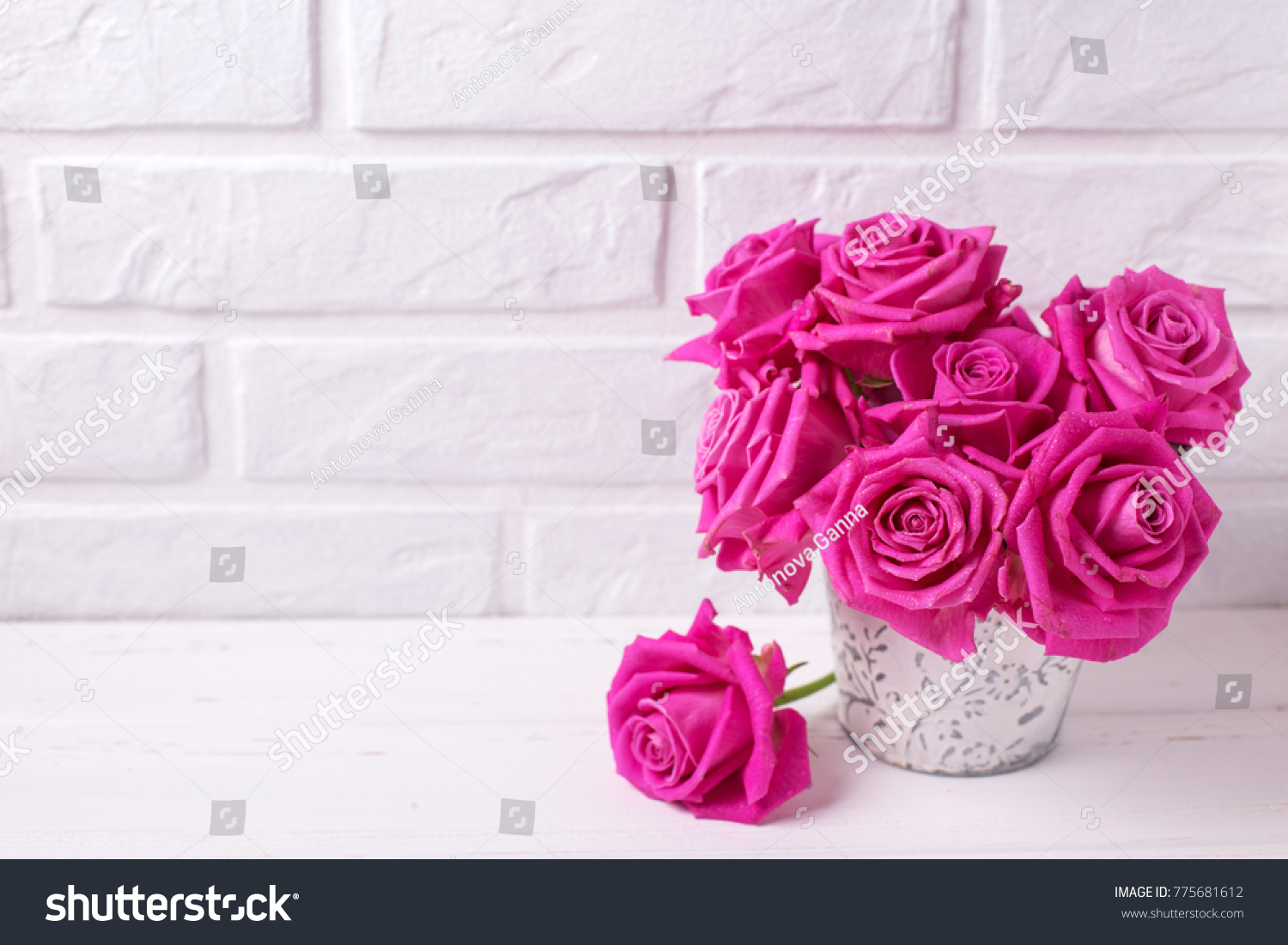 Bunch Of Bright Pink Roses Flowers On White Wooden Background