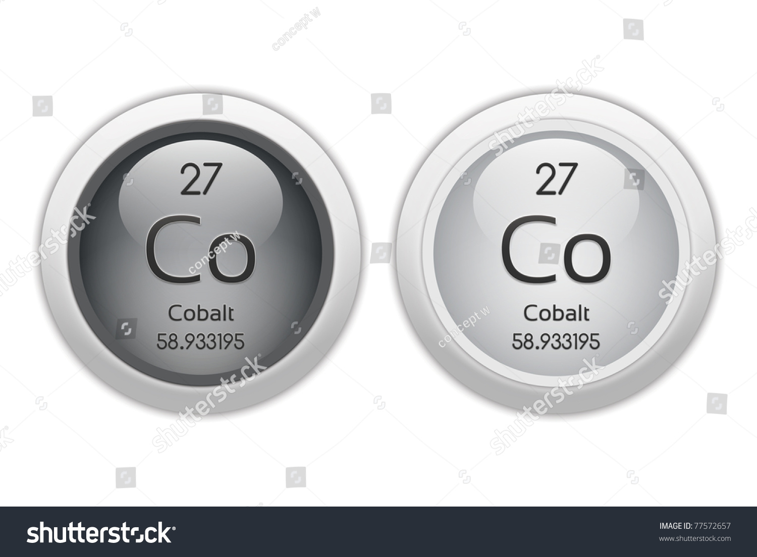 Cobalt Two Web Buttons Chemical Element Stock Illustration 77572657