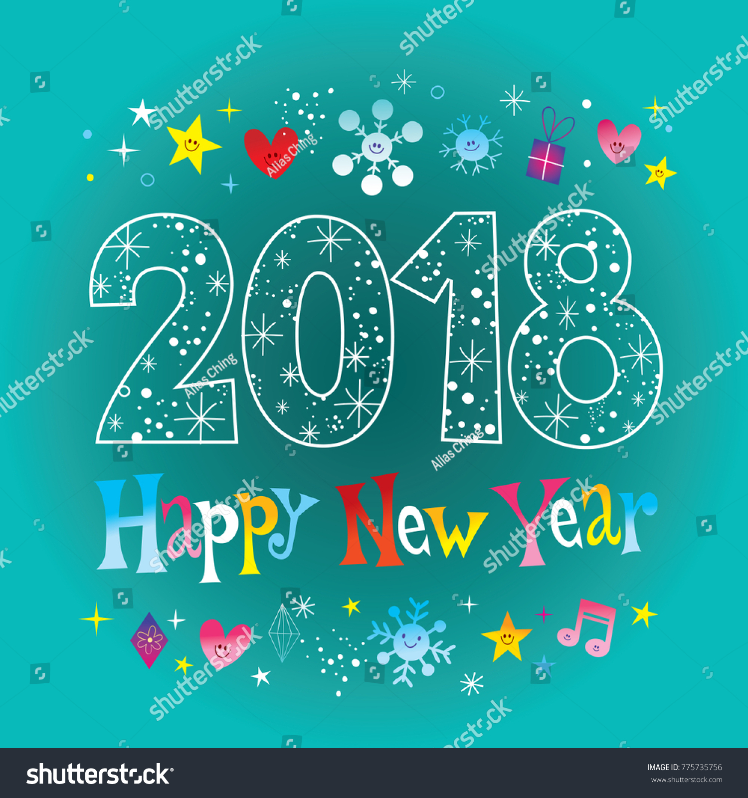happy new year 2018 greeting card stock vector 775735756