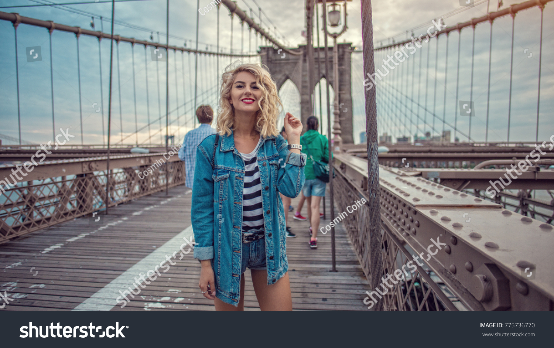 Beautiful Hipster Girl Walking On Brooklyn Stock Photo (Edit Now