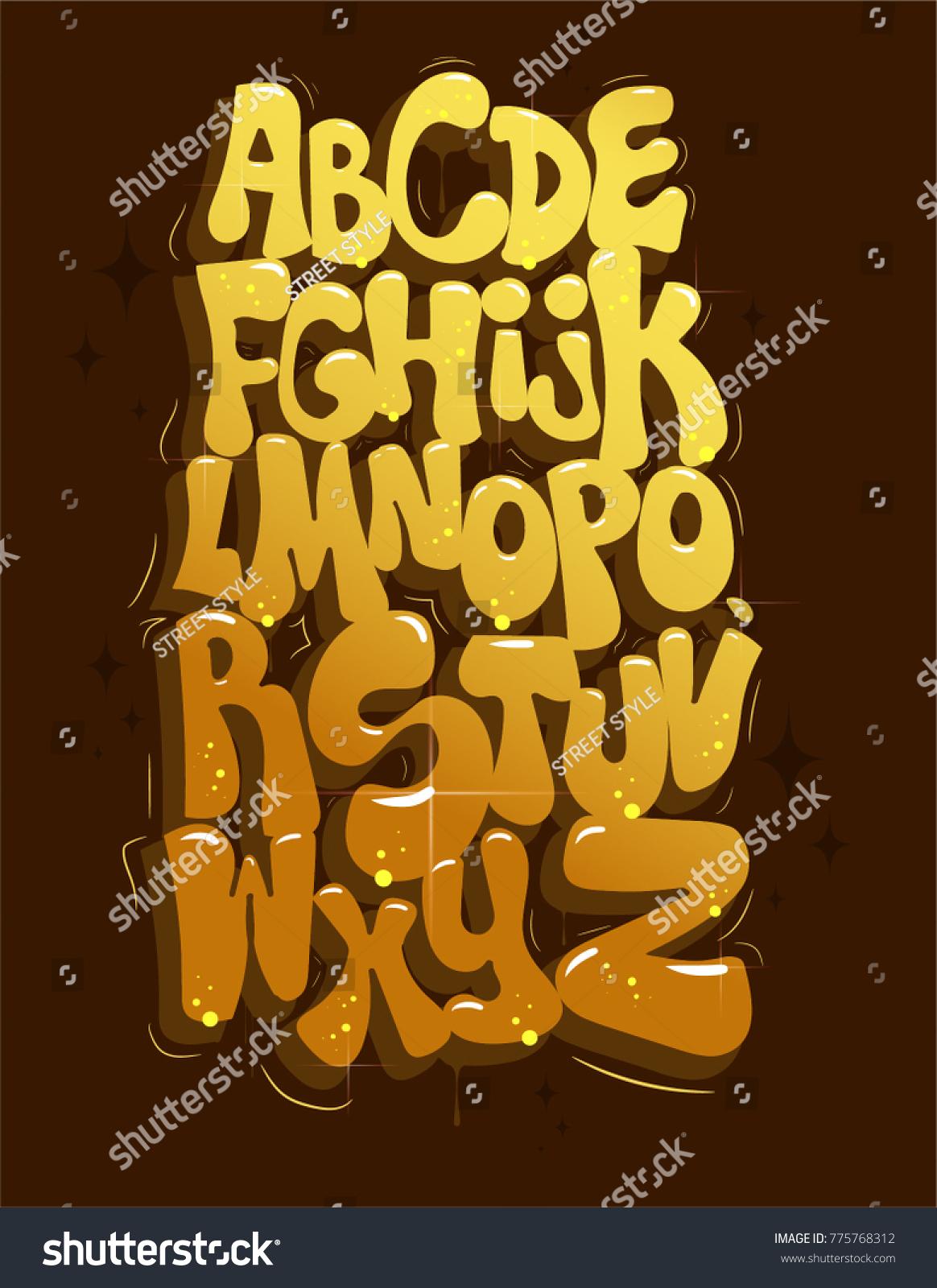 Gold Graffiti Alphabet Original Bubble Font Stock Vector (Royalty ...