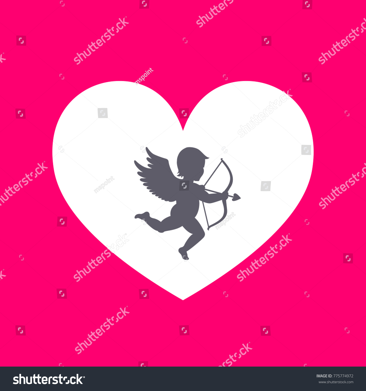 14th february cupid bow arrow greeting stock illustration cupid with bow and arrow greeting card for valentines day kristyandbryce Choice Image
