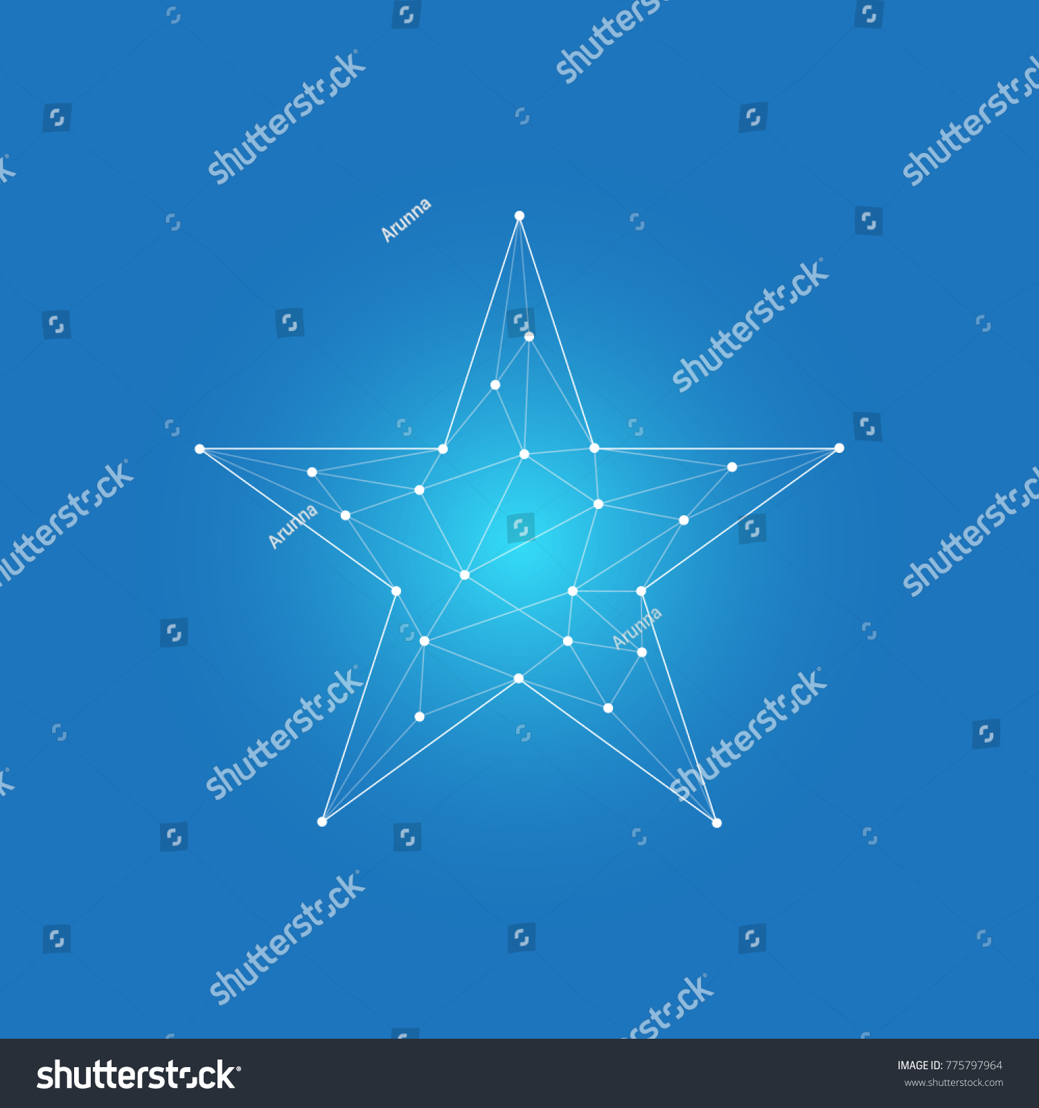 Dot Connection Star Polygon Style Blue Stock Vector (Royalty Free ...