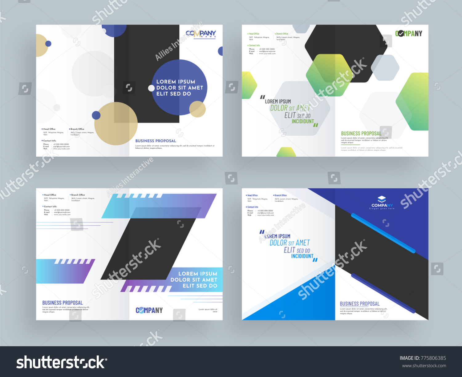 Business Proposals, Cover Page Design Set With Elegant Abstract Designs.  Proposal Cover Page Design