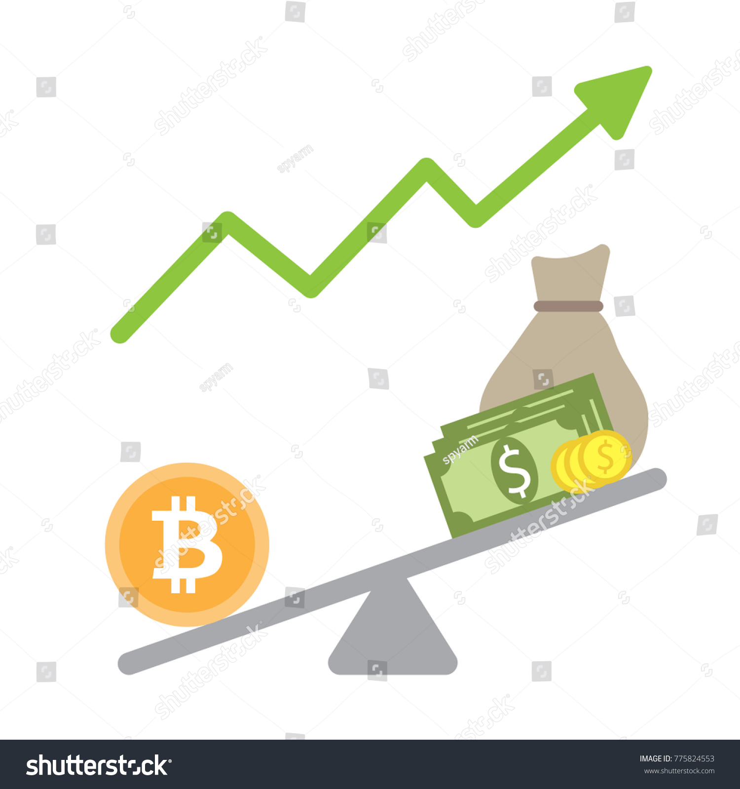 Bitcoin Value Balance Scale Vector Cryptocurrency Compare With Dollar And High Growth Simple Flat