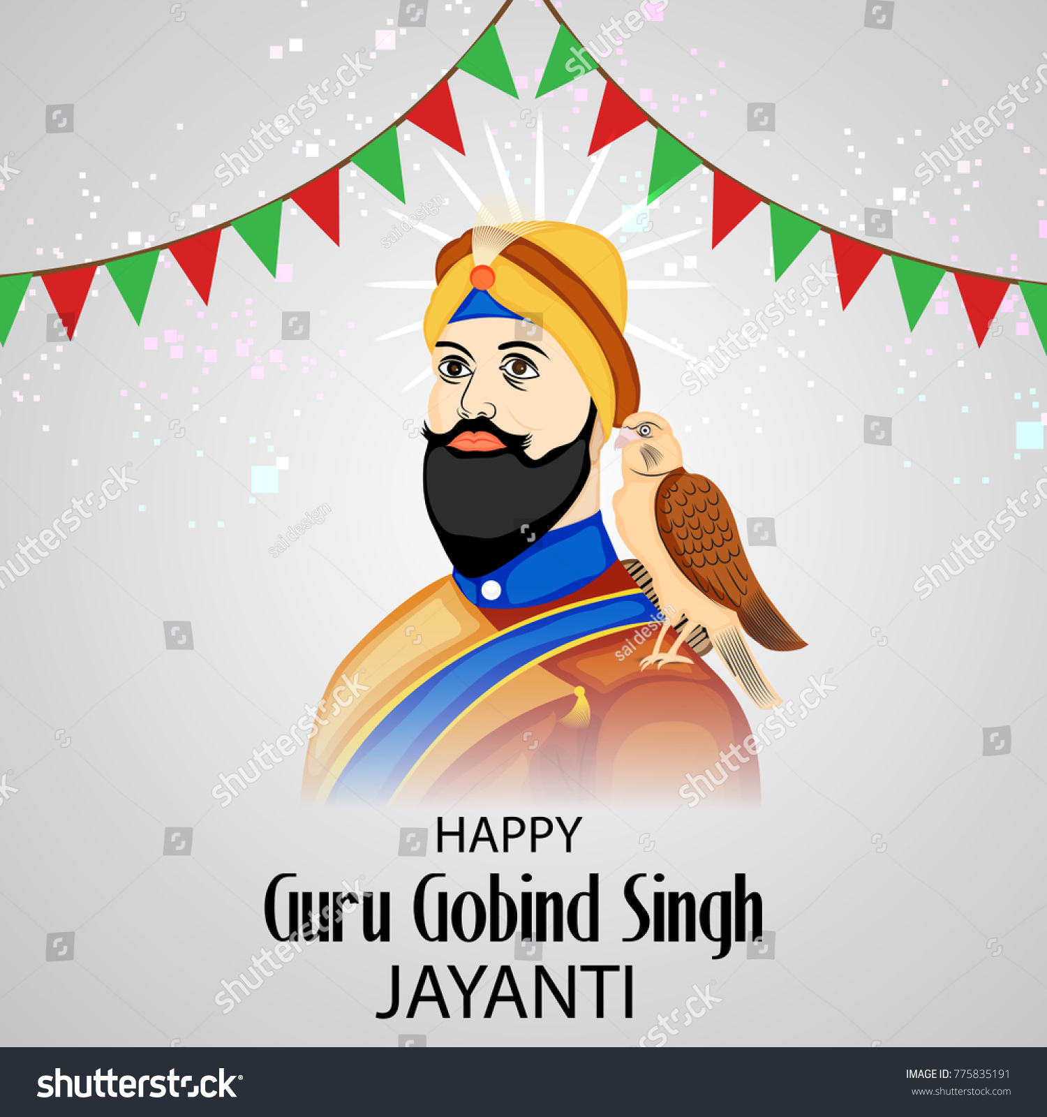 Vector Illustration Background Happy Guru Gobind Stock Vector