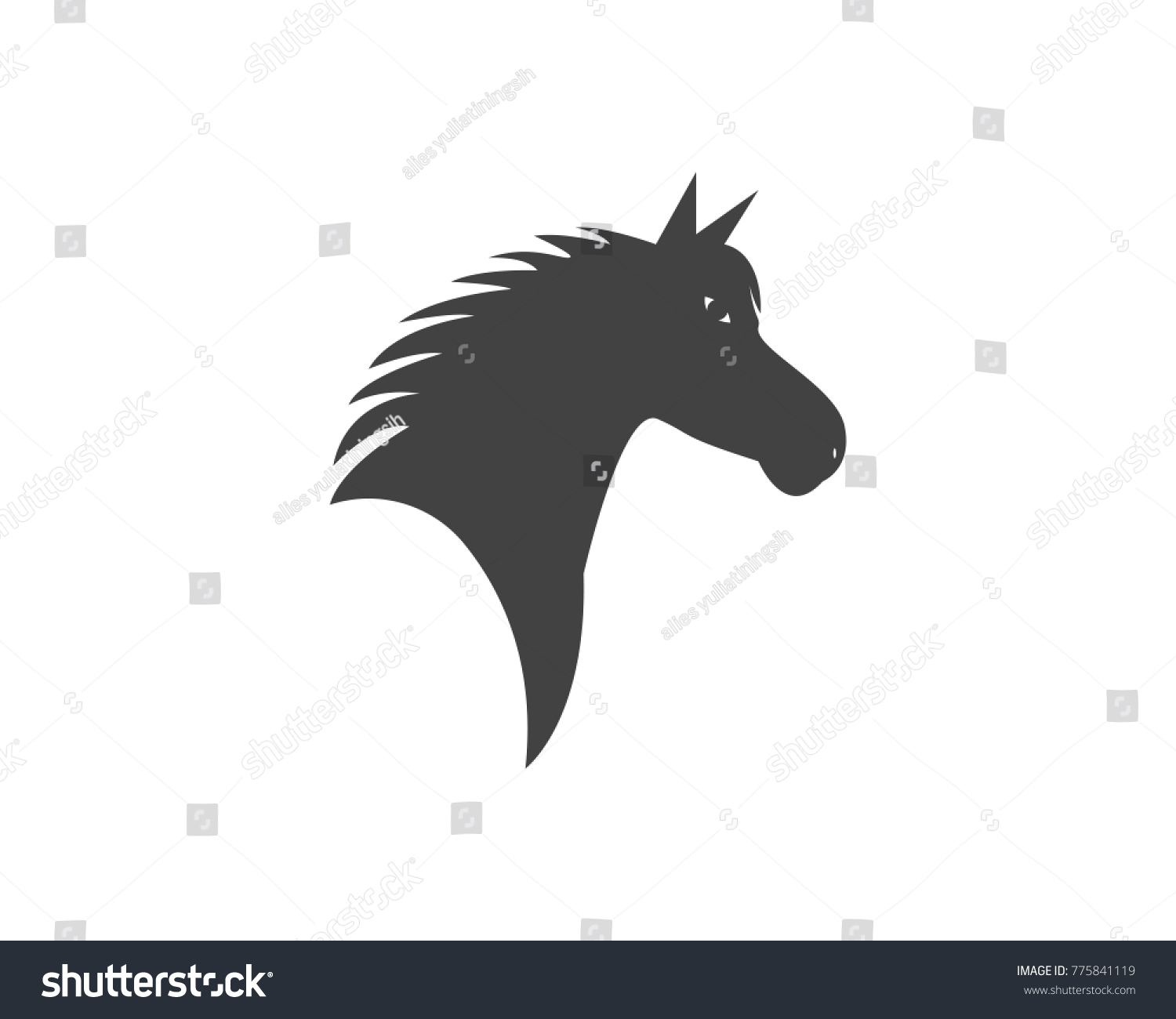 Horse Head Silhouette Logo Design Template Stock Vector Royalty