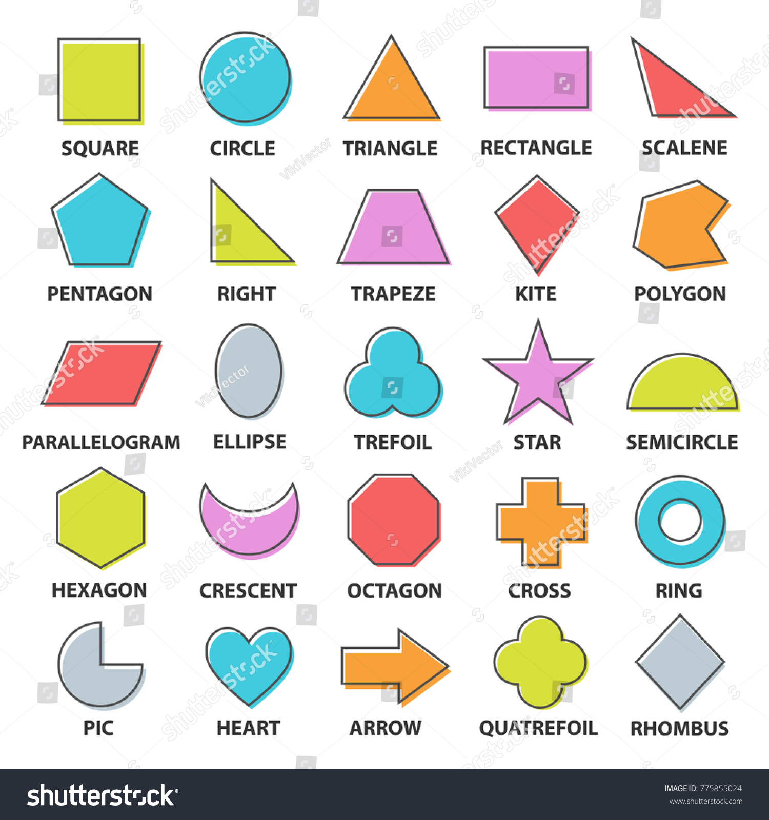 Worksheets Shape Names basic shapes set geometric objects collection stock vector hd with names mathematics study of shape size