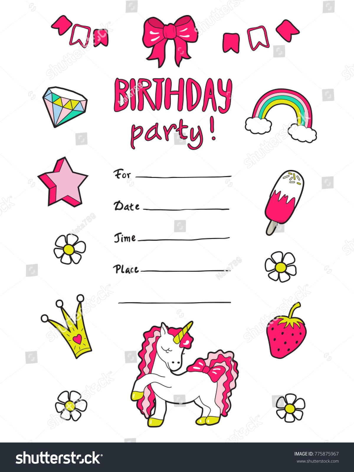 Girls party invitation cute stickers vector stock vector 775875967 girls party invitation with cute stickers vector monicamarmolfo Choice Image