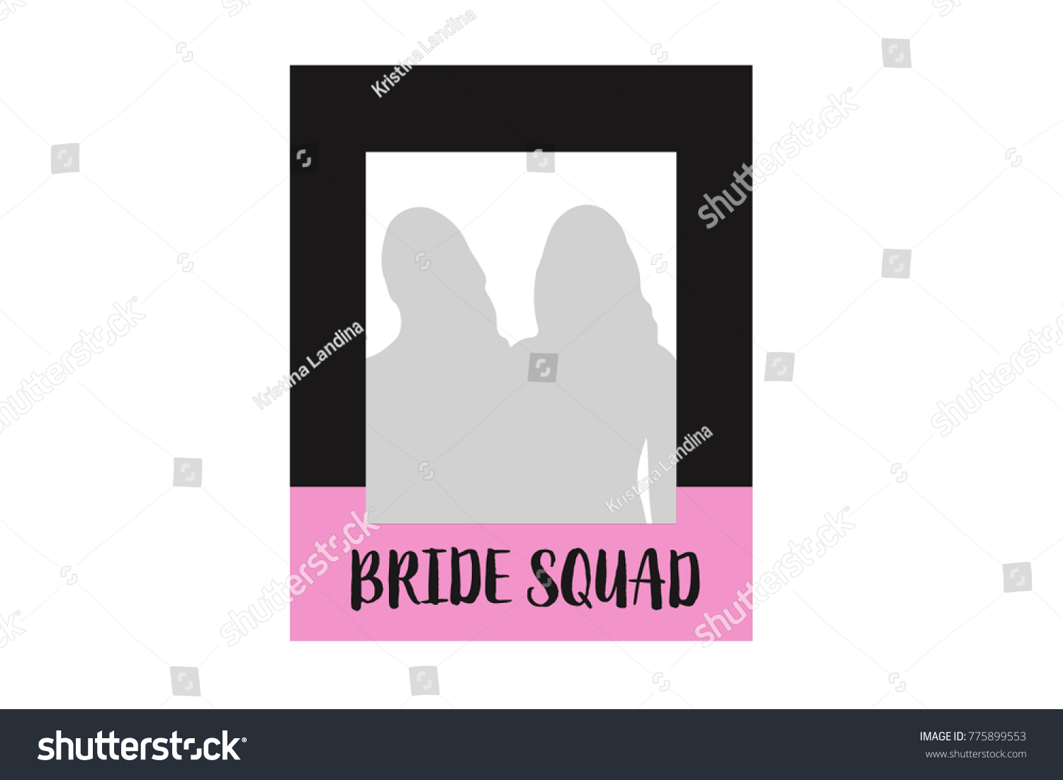 Printable Modern Bachelorette Photo Booth Frame Bride Squad Black And Pink Hen Party Vector Template