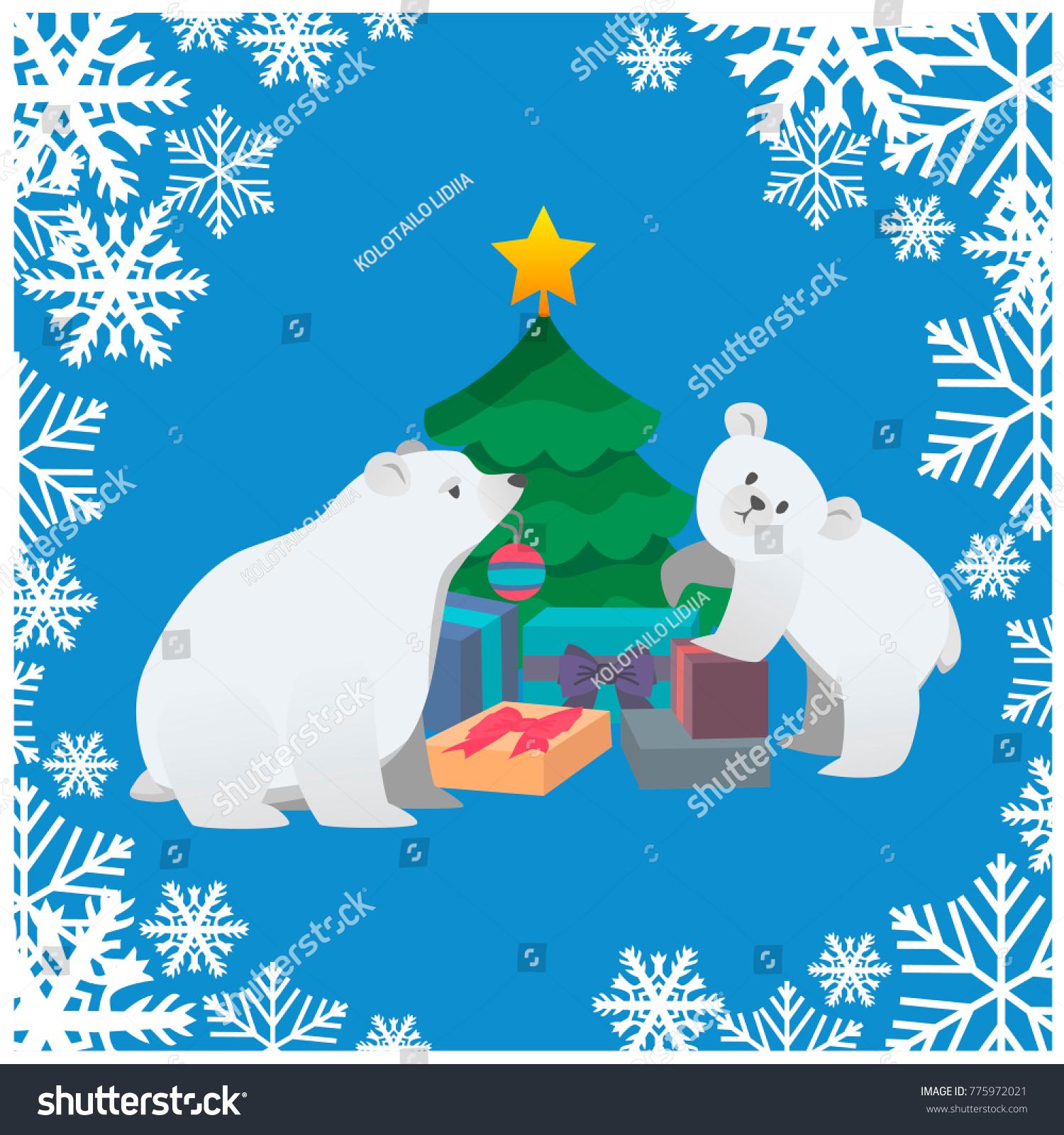 Polar Bears Dressing Christmas Tree Square Stock Vector 775972021 ...
