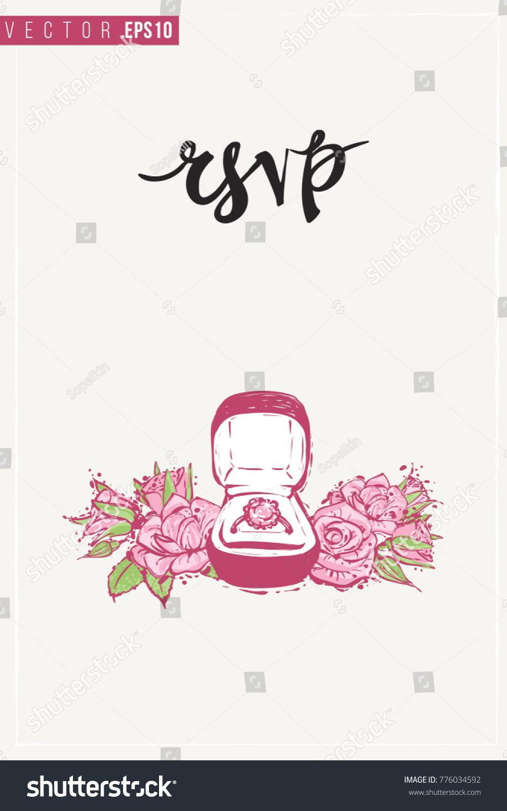 Bridal Greeting Card Engagement Ring Box Stock Vector Royalty Free