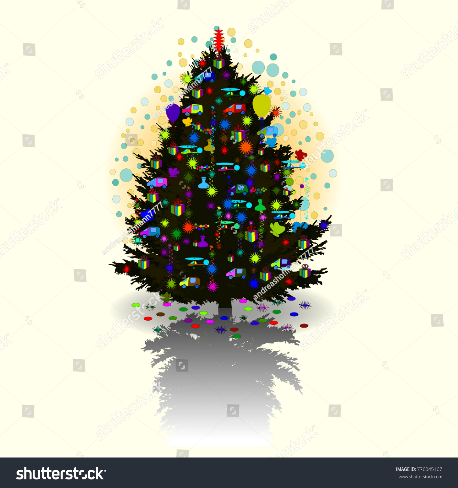 traditional russian new year christmas tree stock vector royalty