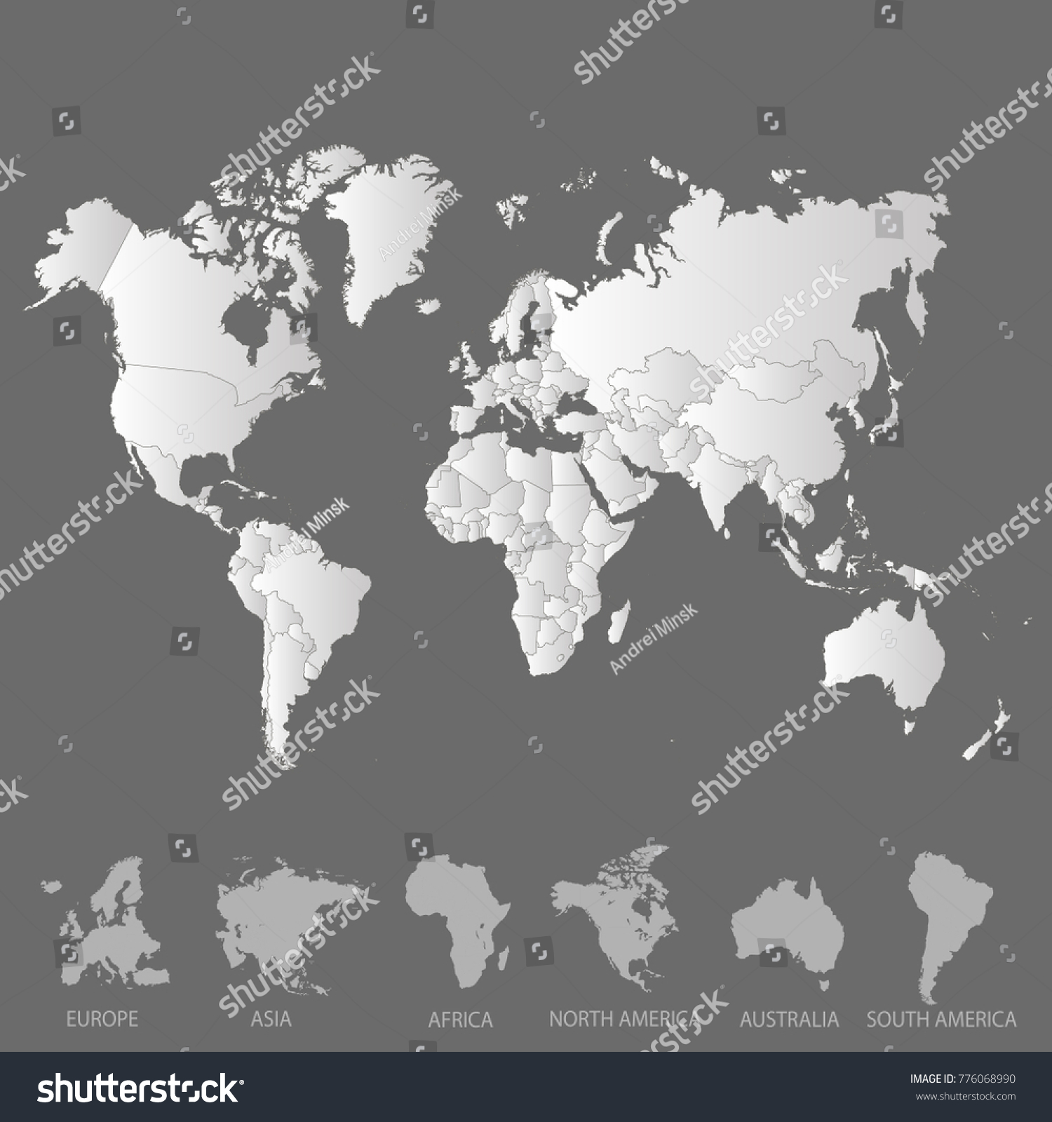 World map europe asia america africa stock vector 776068990 world map europe asia america africa australia gumiabroncs Images