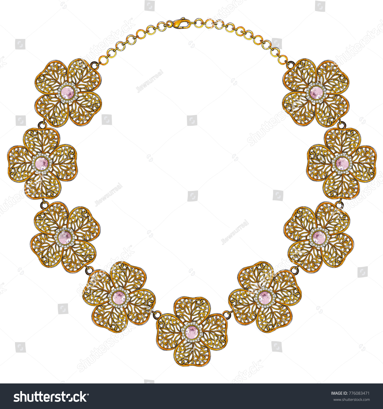 Jewelry Design Vintage Flower Gold Necklacehand Stock Illustration ...