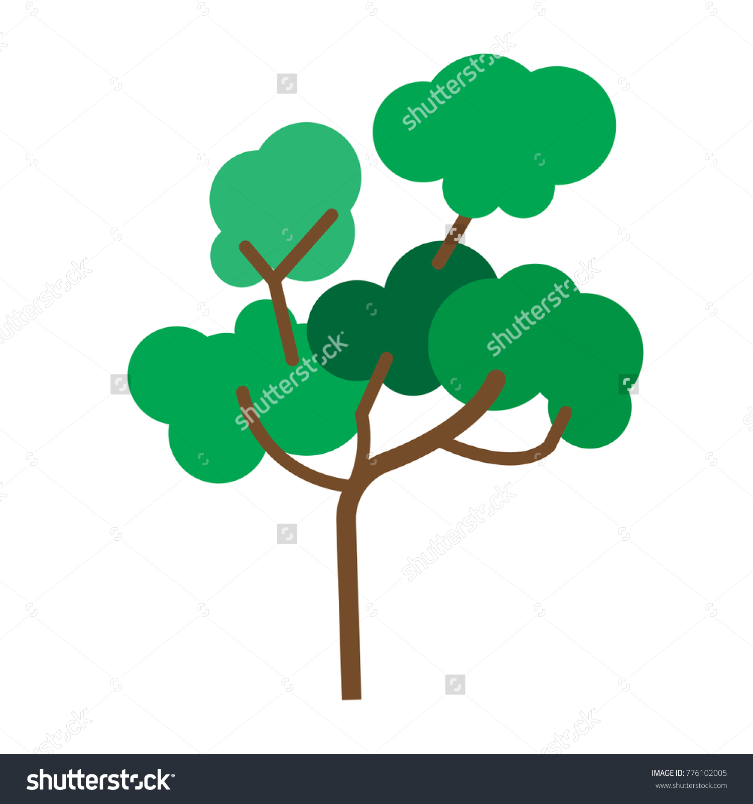 Flat Color Tree Icon Stock Vector 776102005 - Shutterstock