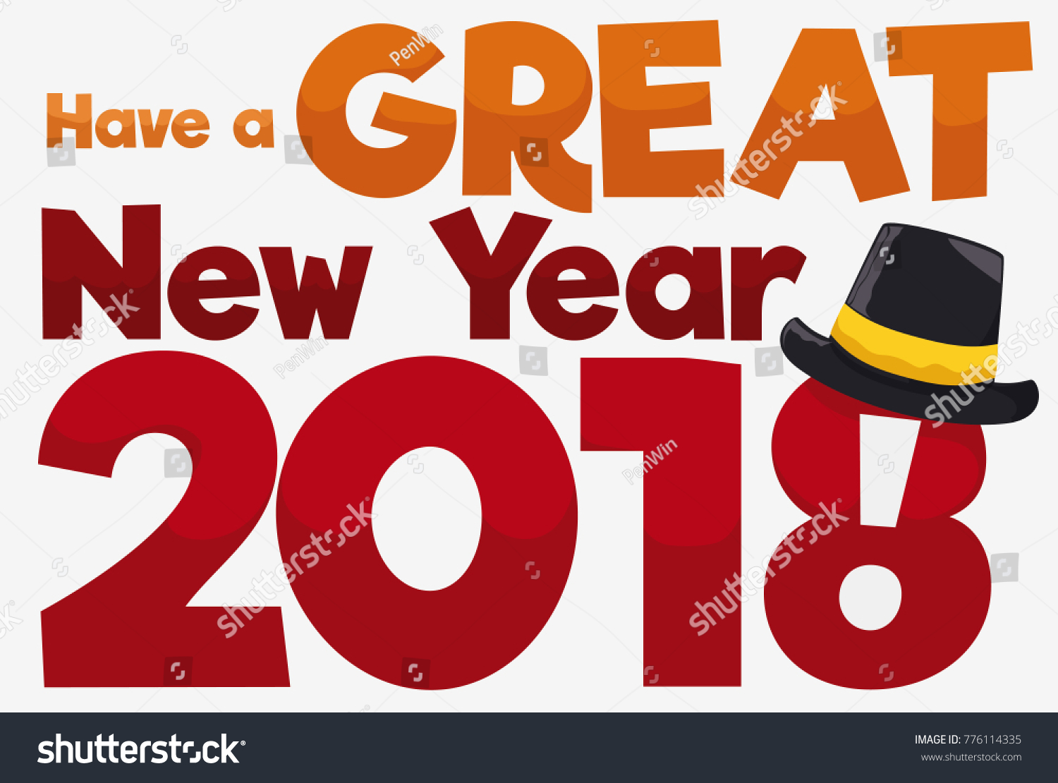 Poster greeting message festive hat upcoming stock vector 776114335 poster with greeting message and festive hat for the upcoming year 2018 m4hsunfo