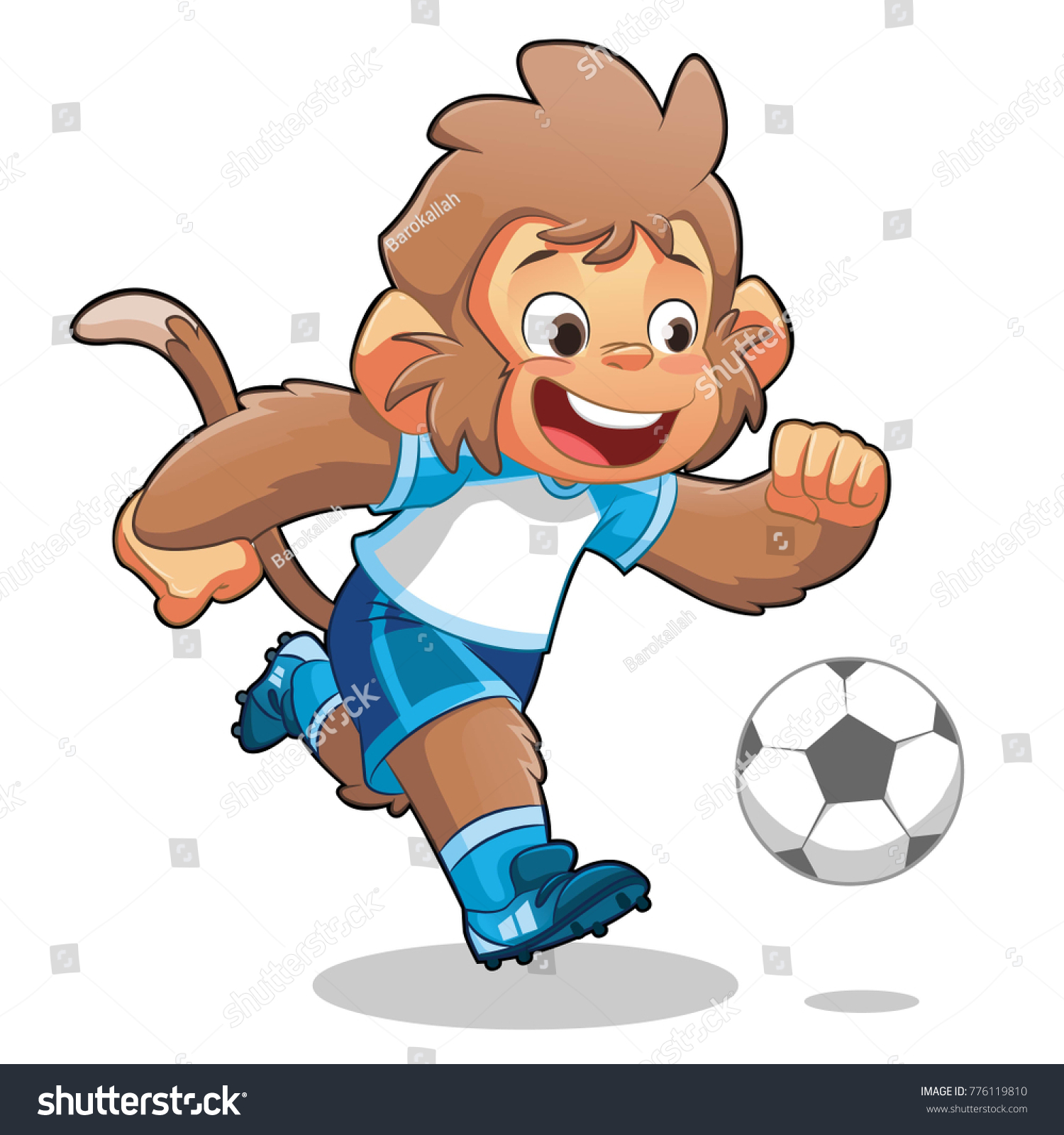 Monkey Playing Soccer Stock Vector Royalty Free 776119810