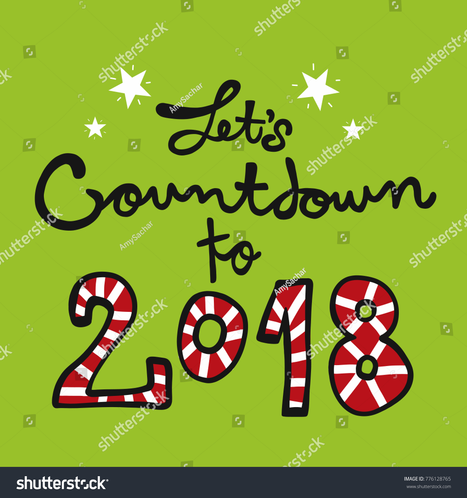 lets countdown to 2018 word lettering illustration
