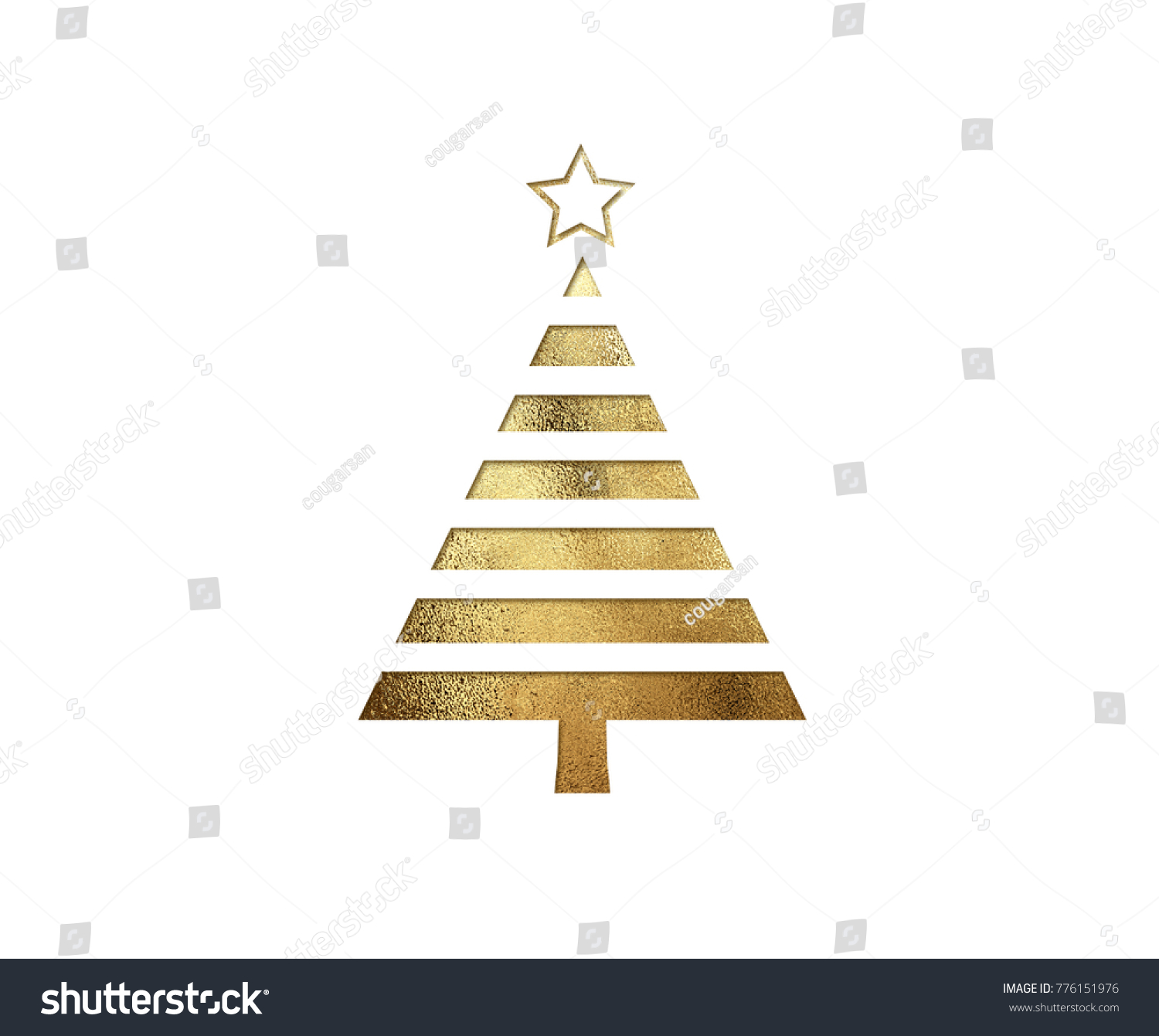 The isolated golden glitter Christmas tree flat icon on black background #776151976