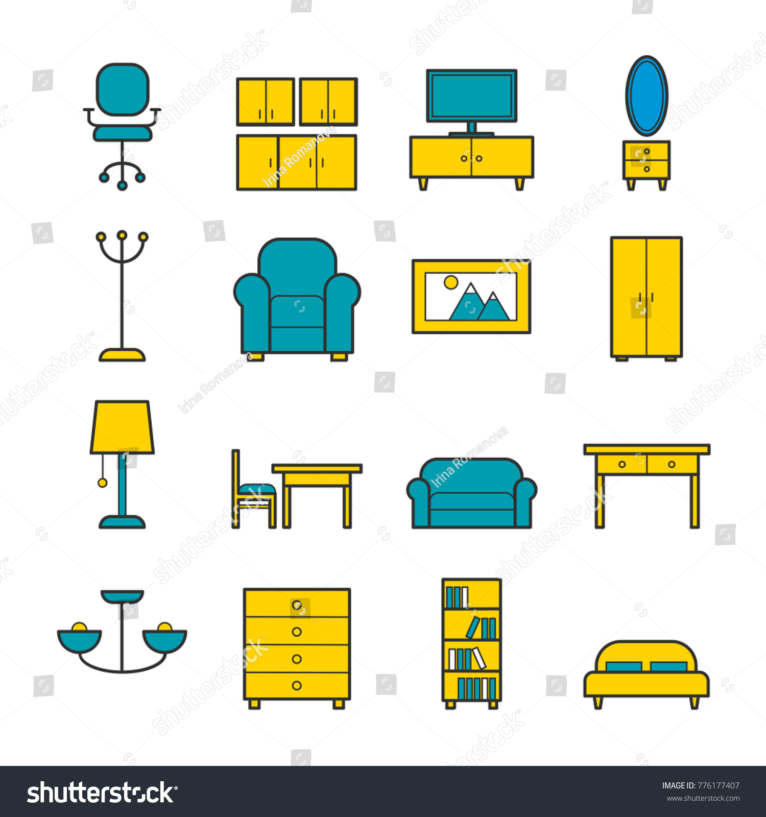 Set Furniture Vector Outline Icons Line Stock Vector (Royalty Free