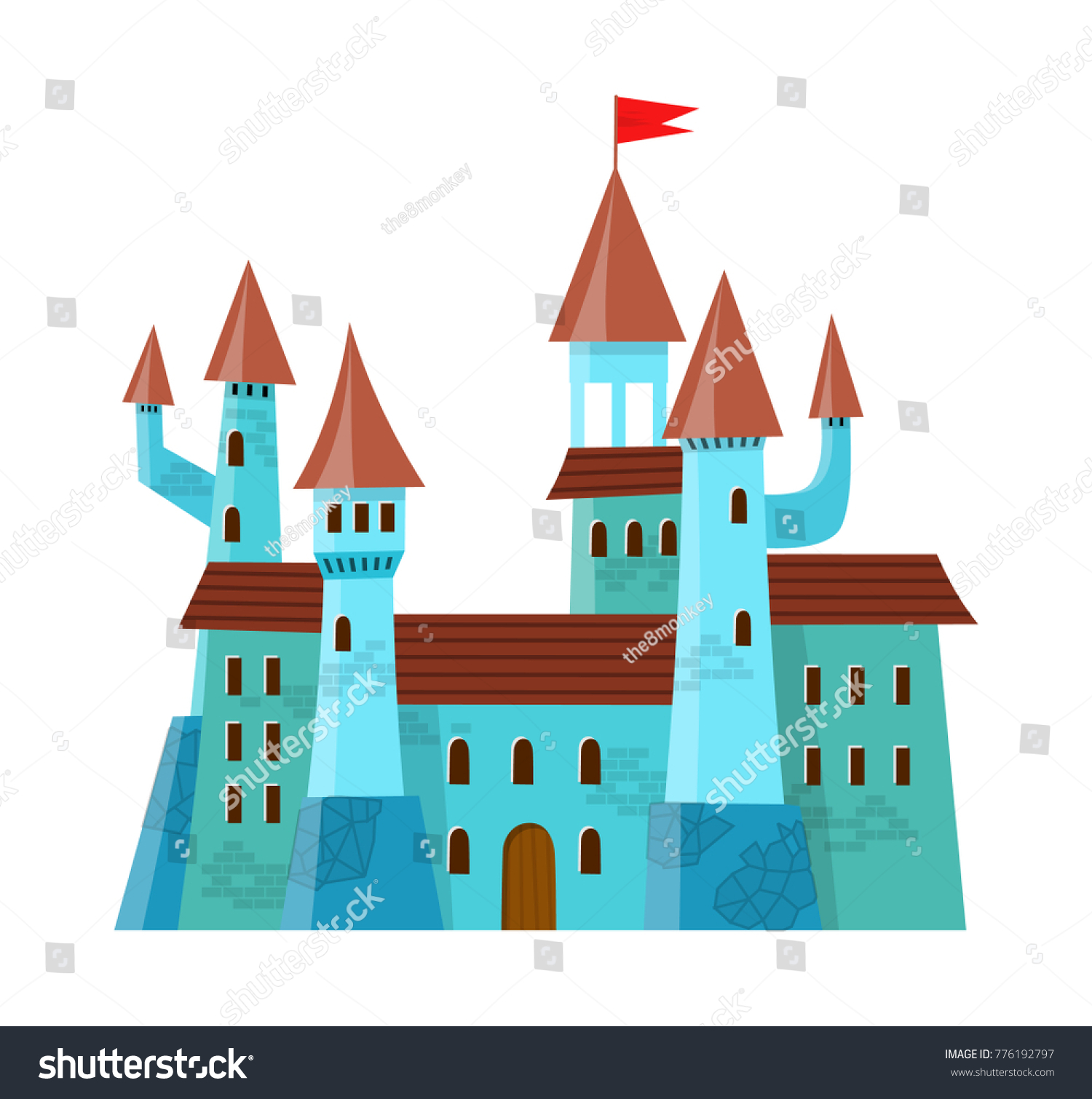 Fairy me val castle in cartoon style on white background is