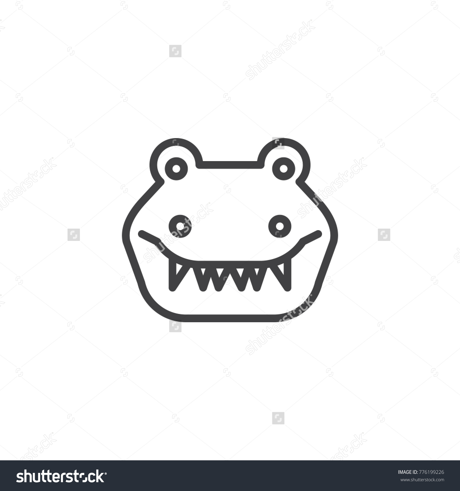Crocodile Head Line Icon Outline Vector Sign Linear Style Pictogram Isolated On White