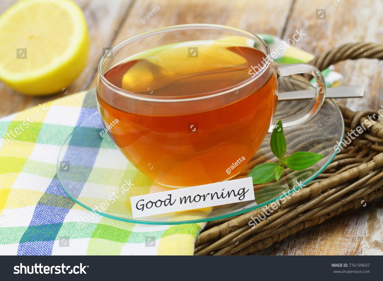 Good Morning Card Green Tea Transparent Stock Photo Edit Now 776199697