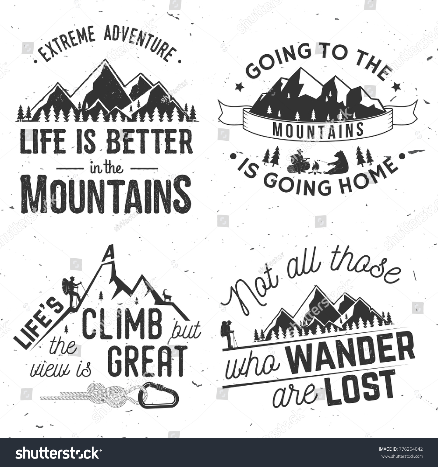 Quote Related To Life Set Mountains Related Typographic Quote Not Stock Vector 776254042