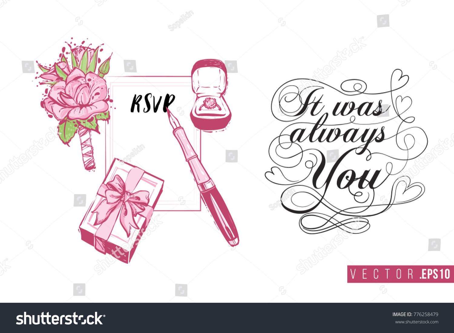 Bridal greeting card marriage accessories text stock vector bridal greeting card with marriage accessories and text it was always you tender pink kristyandbryce Gallery