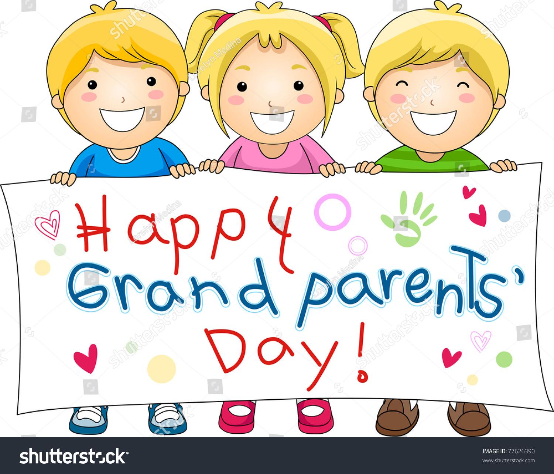 Illustration Children Holding Banner Grandparents Day Stock Vector