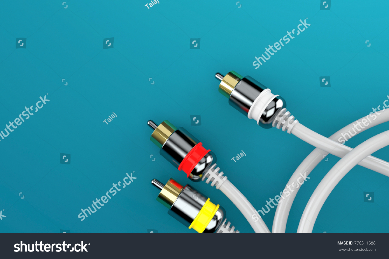 RCA Connector On Blue Background 3 D Stock Illustration 776311588 ...