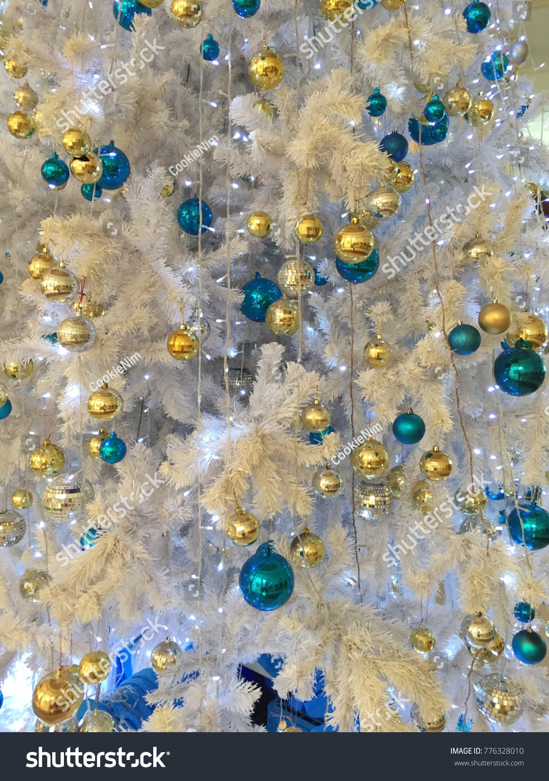 Gold Blue Ornament On White Christmas Stock Photo Edit Now 776328010