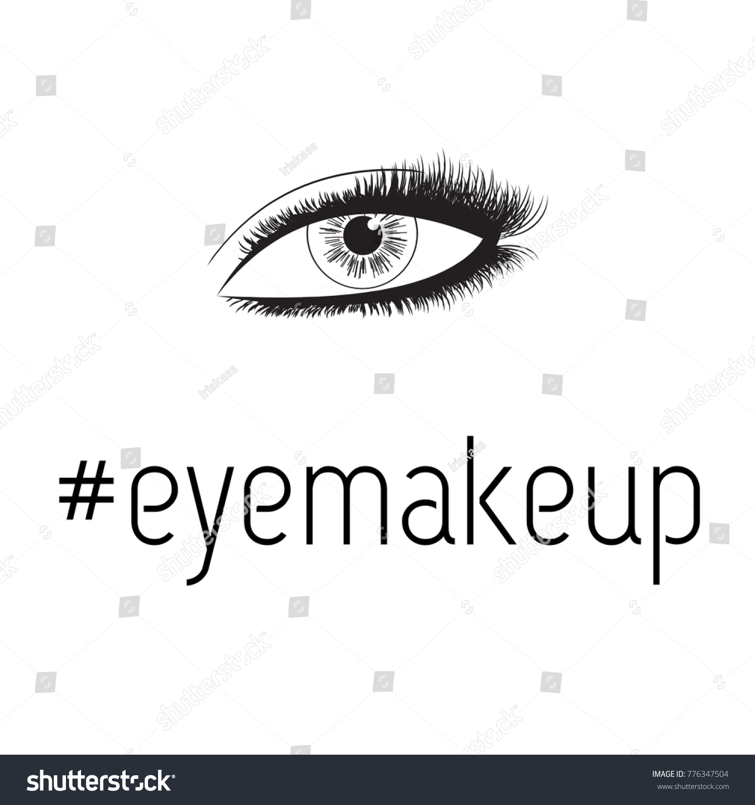 Beauty lash room handdrawn womans eye stock vector 776347504 beauty lash room hand drawn womans eye fresh makeup look with perfectly shaped full magicingreecefo Image collections