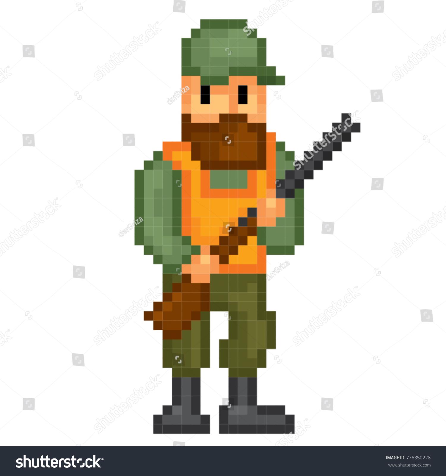 Hunter Icon Pixel Art Old School Stock Vector Royalty Free