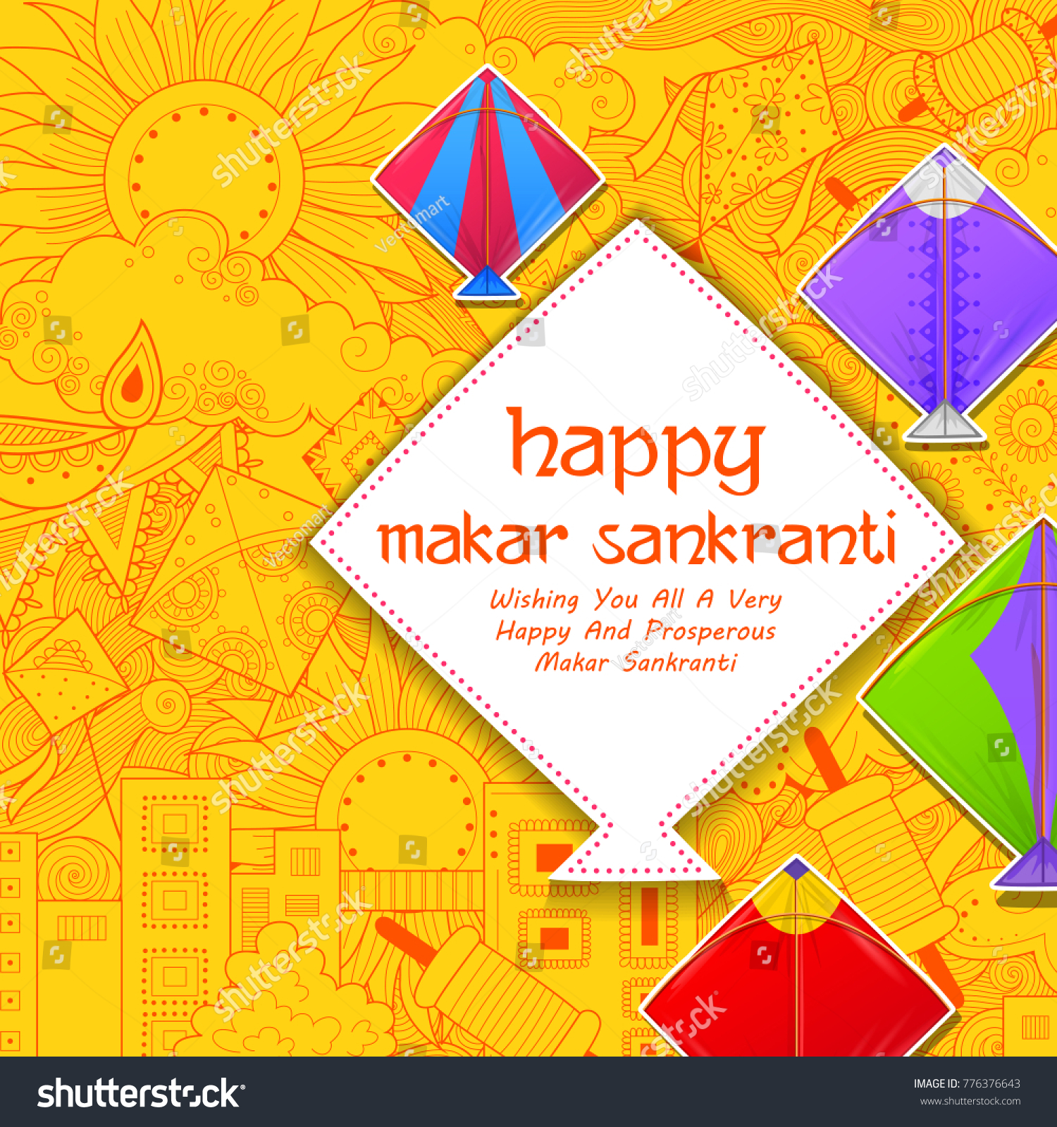 Illustration Happy Makar Sankranti Wallpaper Colorful Stock