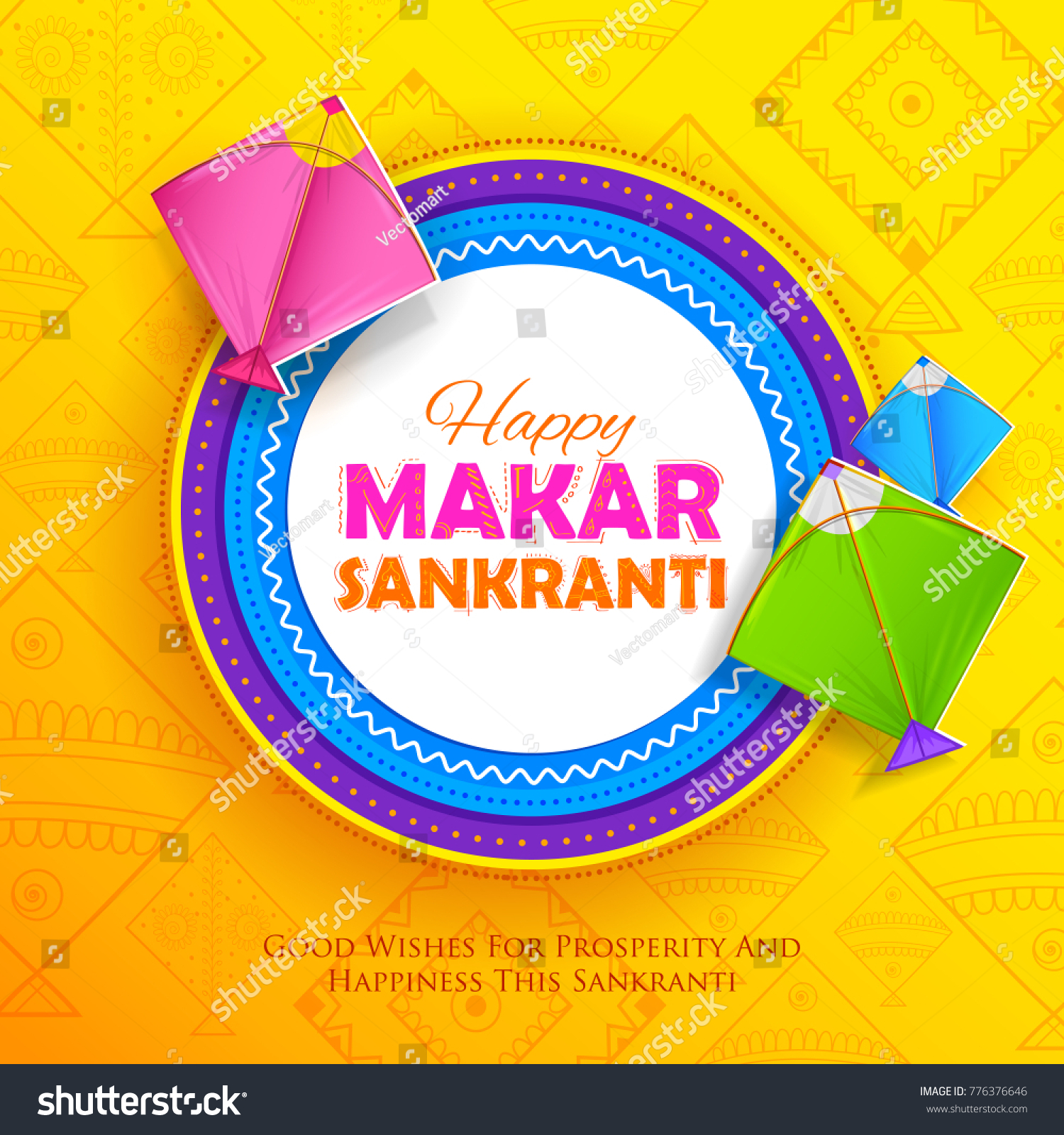 Illustration Happy Makar Sankranti Wallpaper Colorful Stock Vector