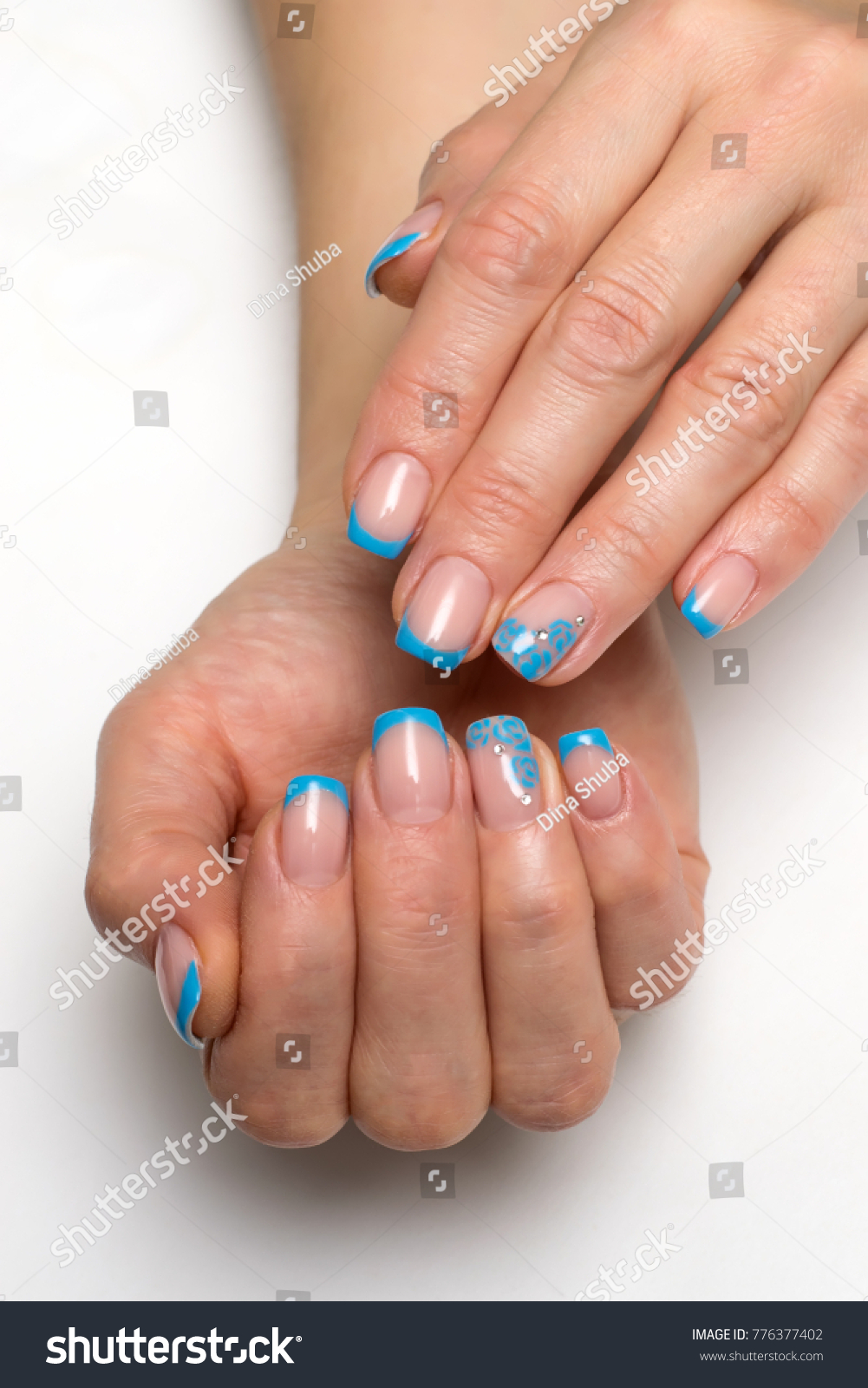 Blue French Manicure Flowers Crystals On Stock Photo (Edit Now ...