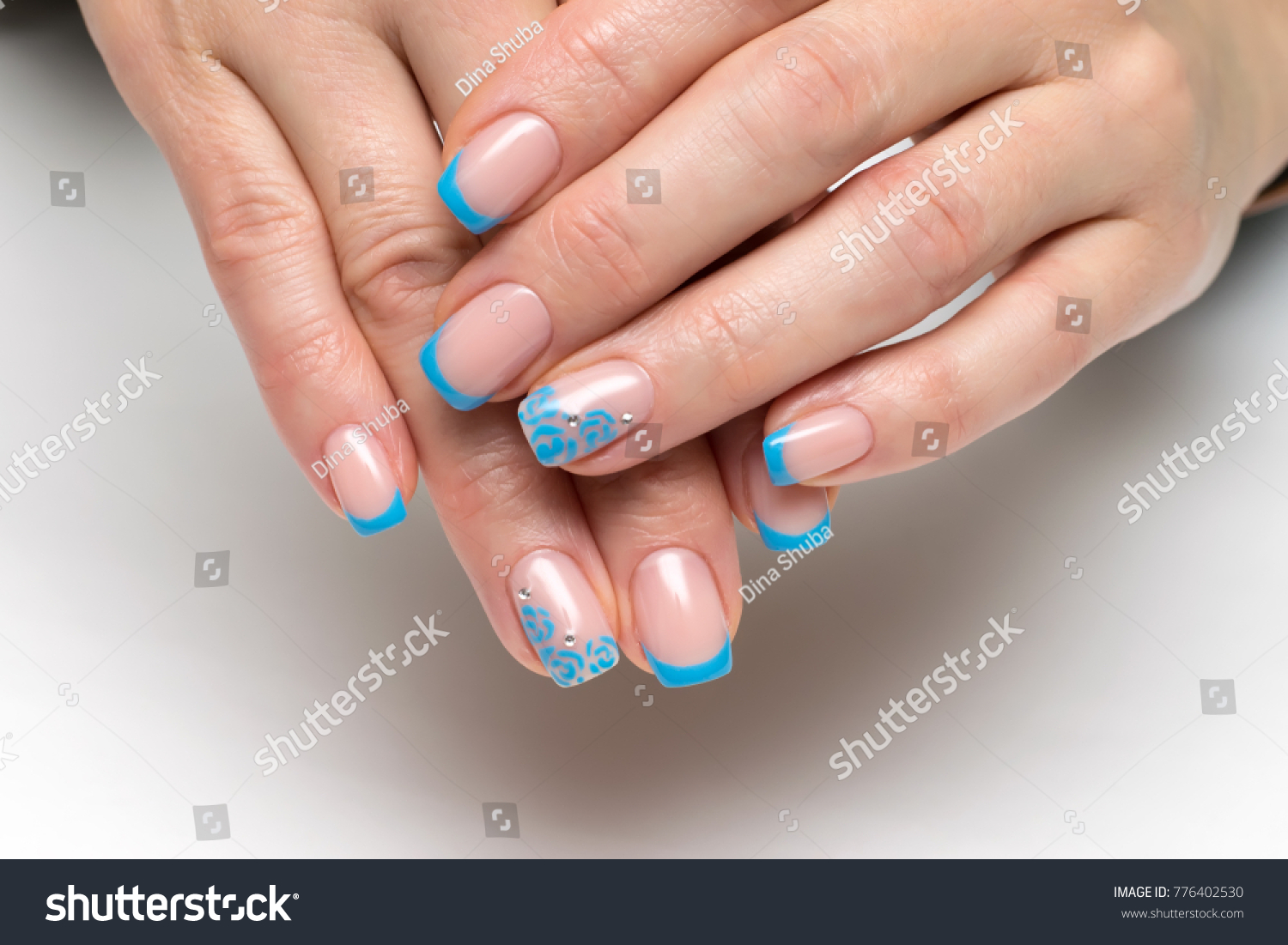Blue French Manicure Flowers Crystals On Stock Photo (Safe to Use ...