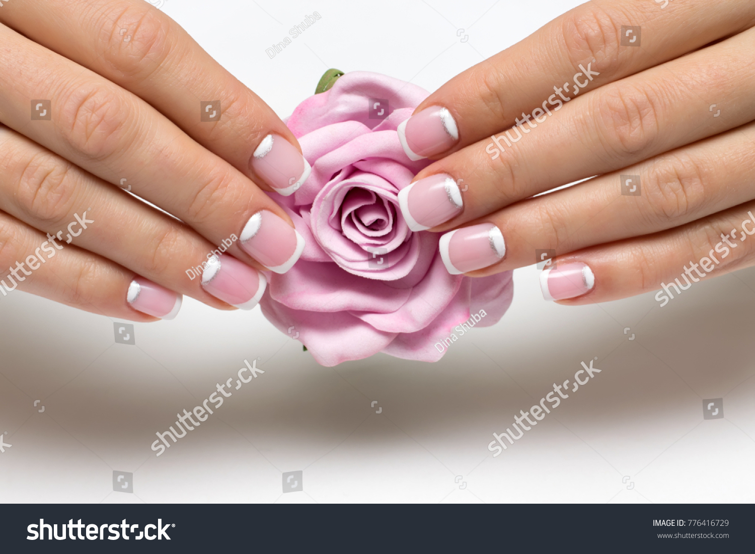 Wedding French Manicure Silver On Short Stock Photo (Download Now ...