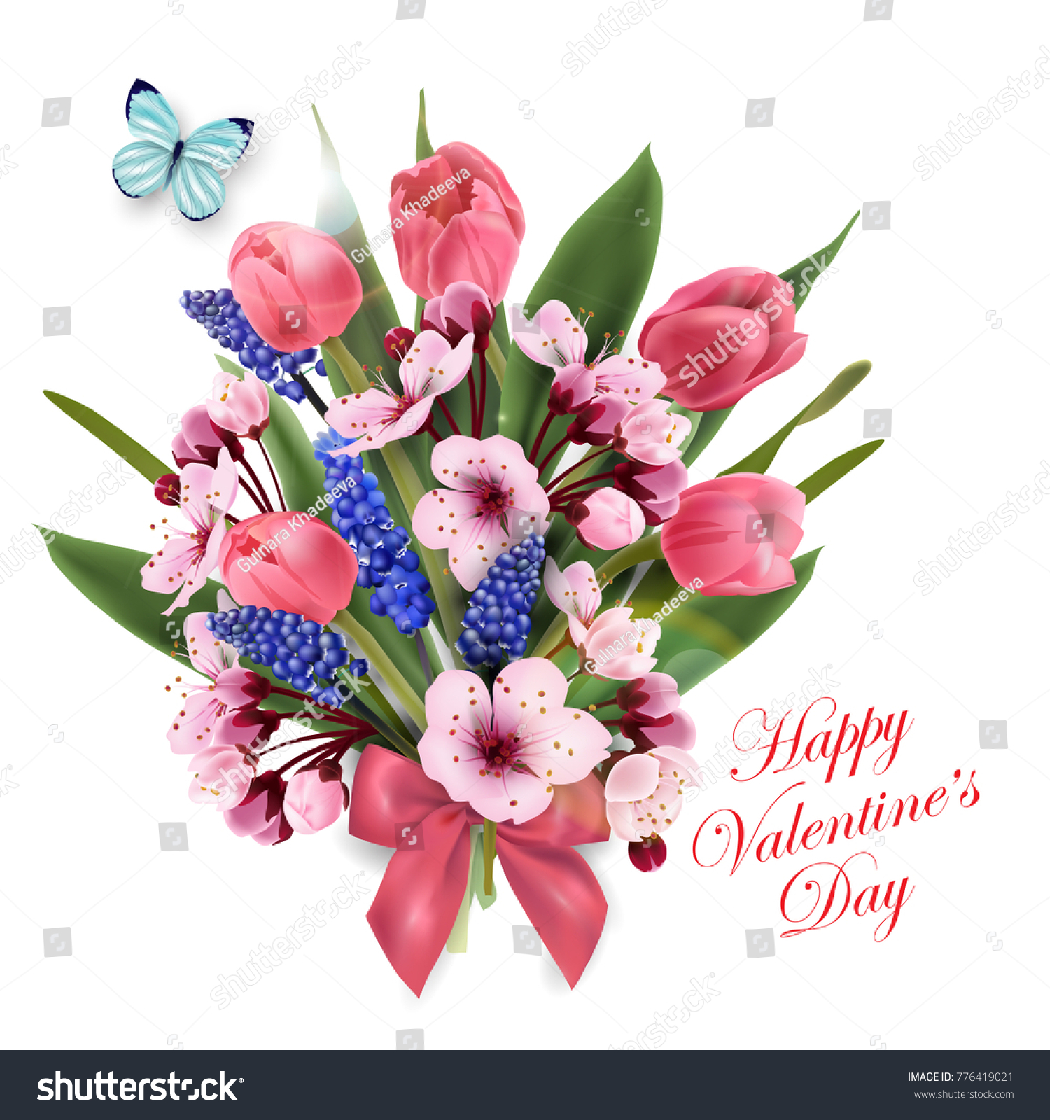 Greeting Card Happy Valentines Day Bouquet Stock Vector (Royalty ...