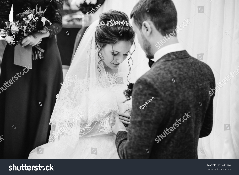 Bridegroom Wears Wedding Ring On Her Stock Photo Edit Now 776443576