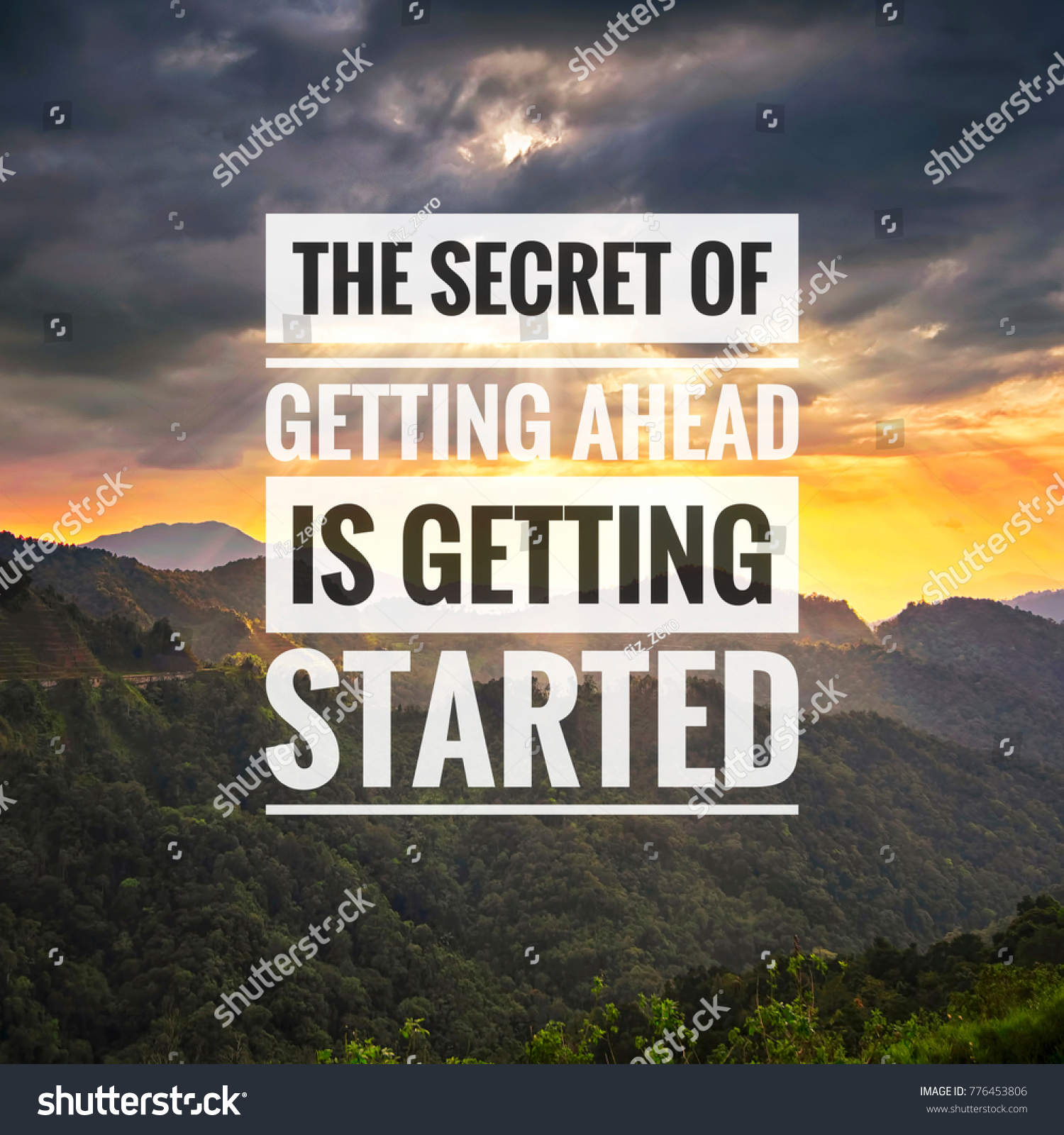 The Secret Quotes Inspirational Success Quotes On Mountain Sunset Stock Photo