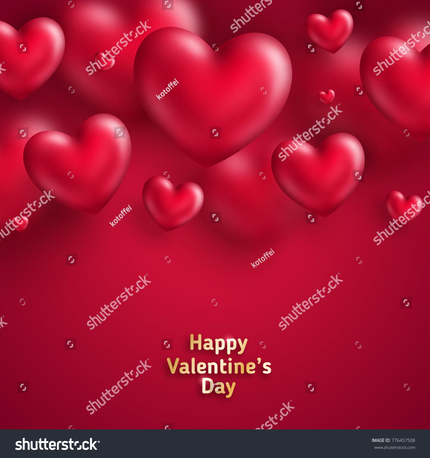 Pink Valentines Day Background 3 D Hearts Stock-Vektorgrafik ...