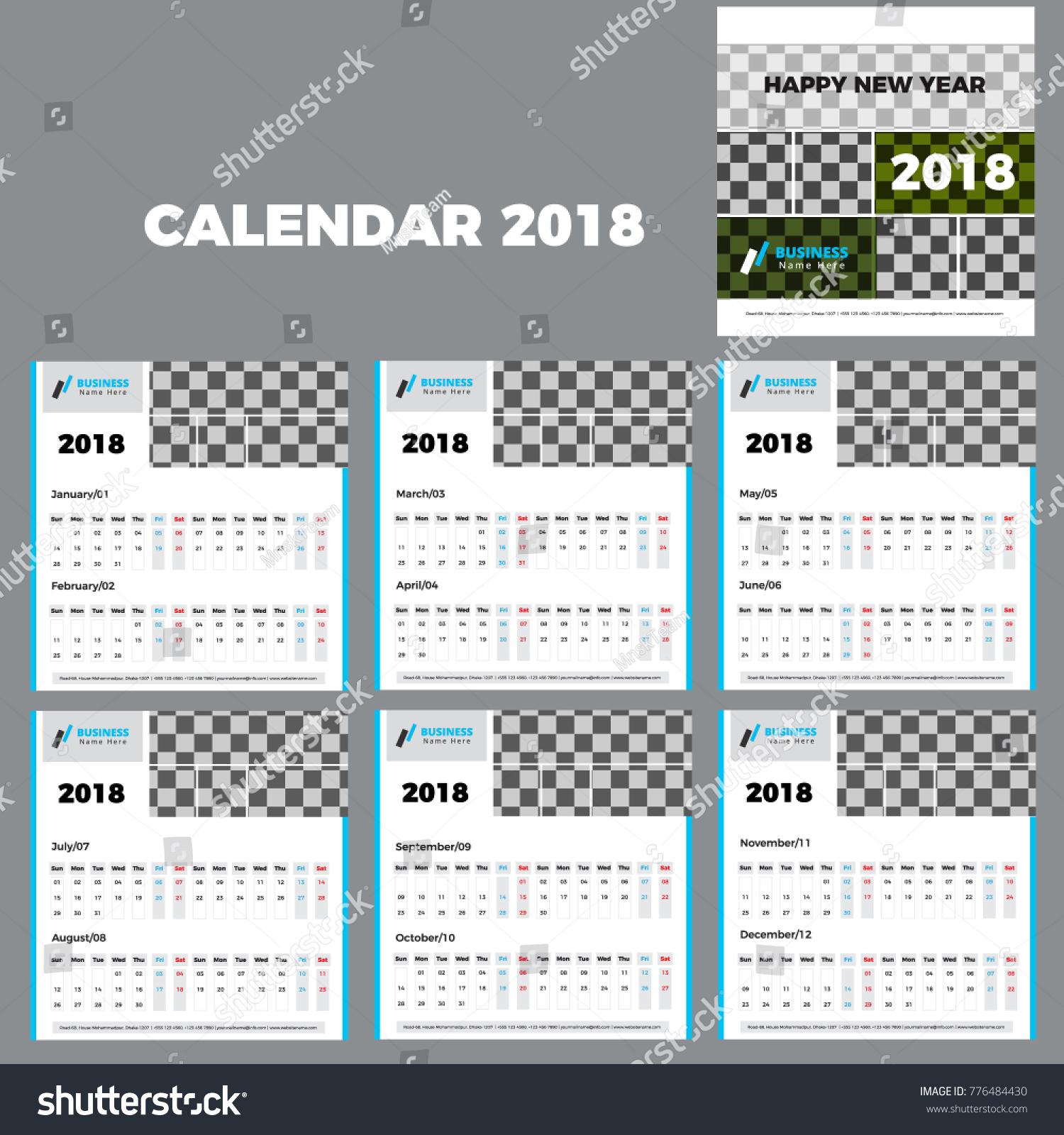 January 2018 Desk Calendar 2018 Year Stock Vector 776484430 ...