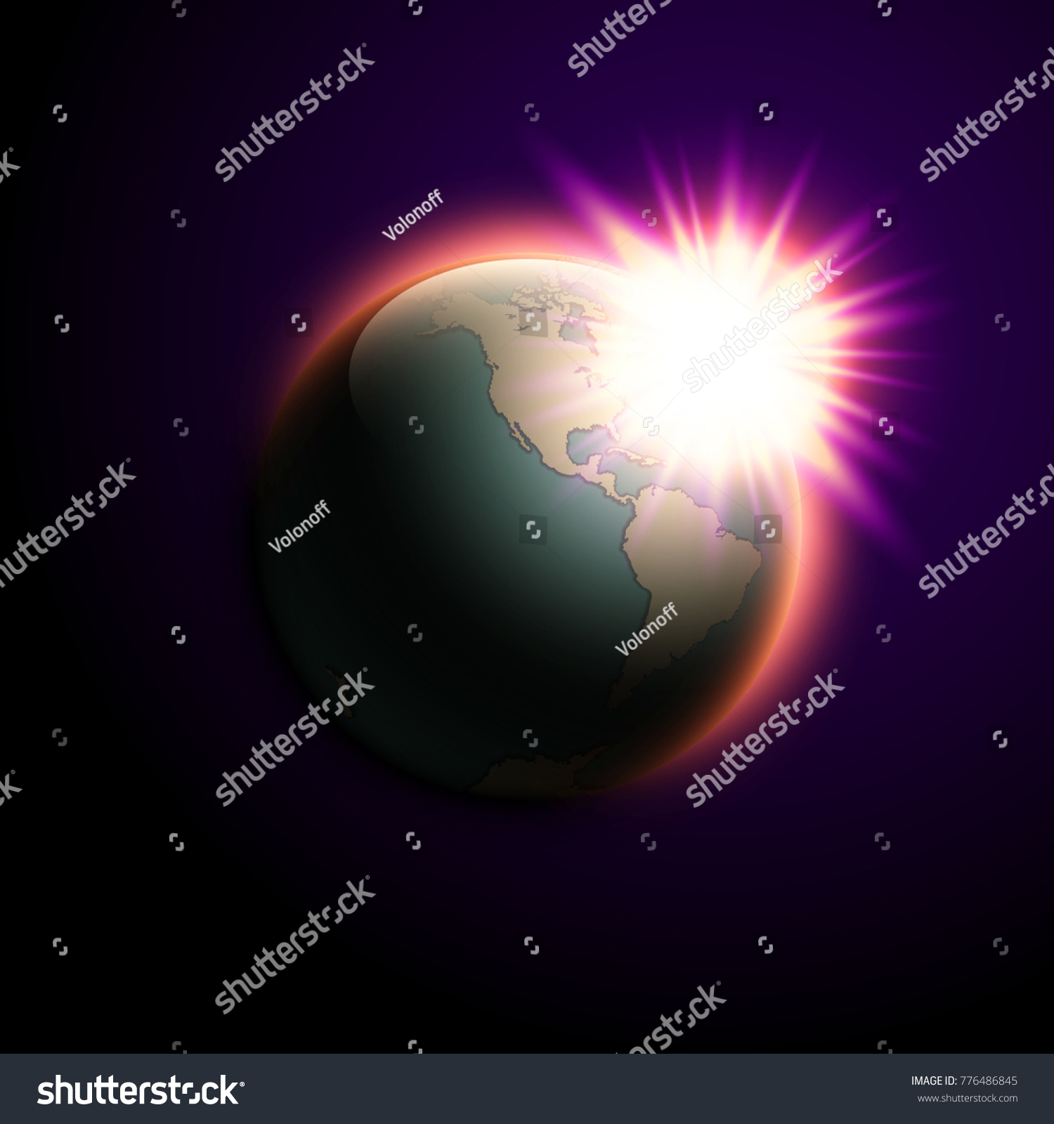 World map rising sun banner globe stock vector 776486845 world map rising sun banner globe icon in space sunlight poster planet earth on gumiabroncs Choice Image